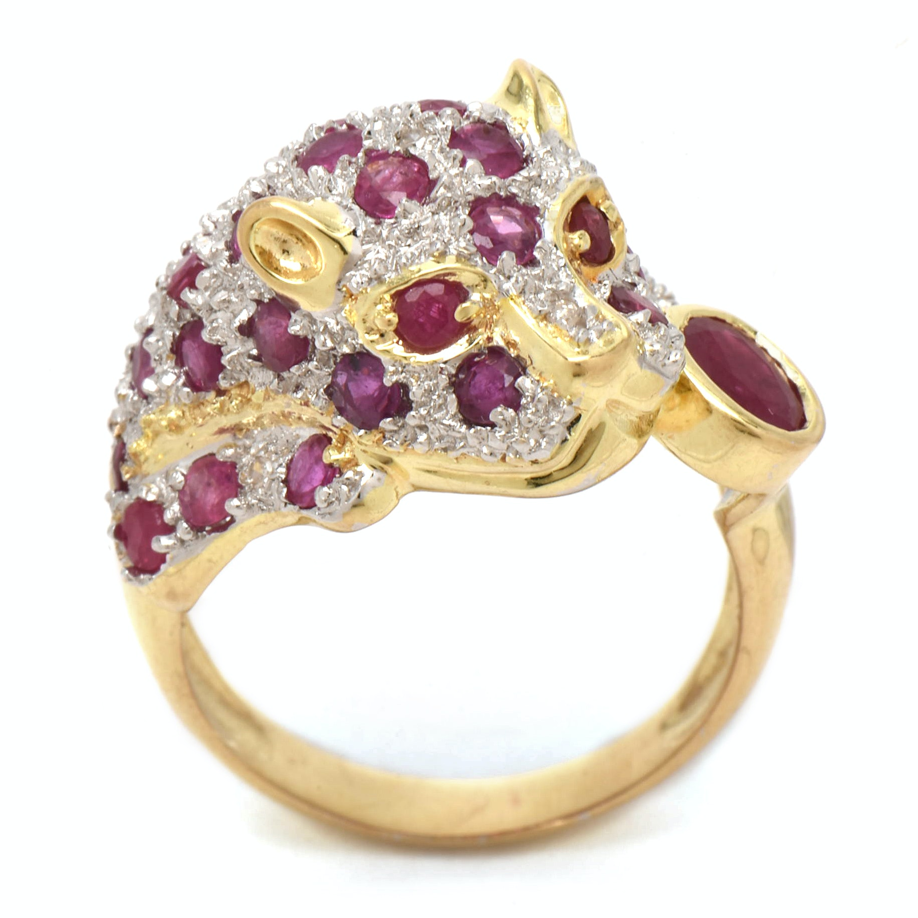 14K Yellow Gold Ruby and Diamond Figural Panther Ring