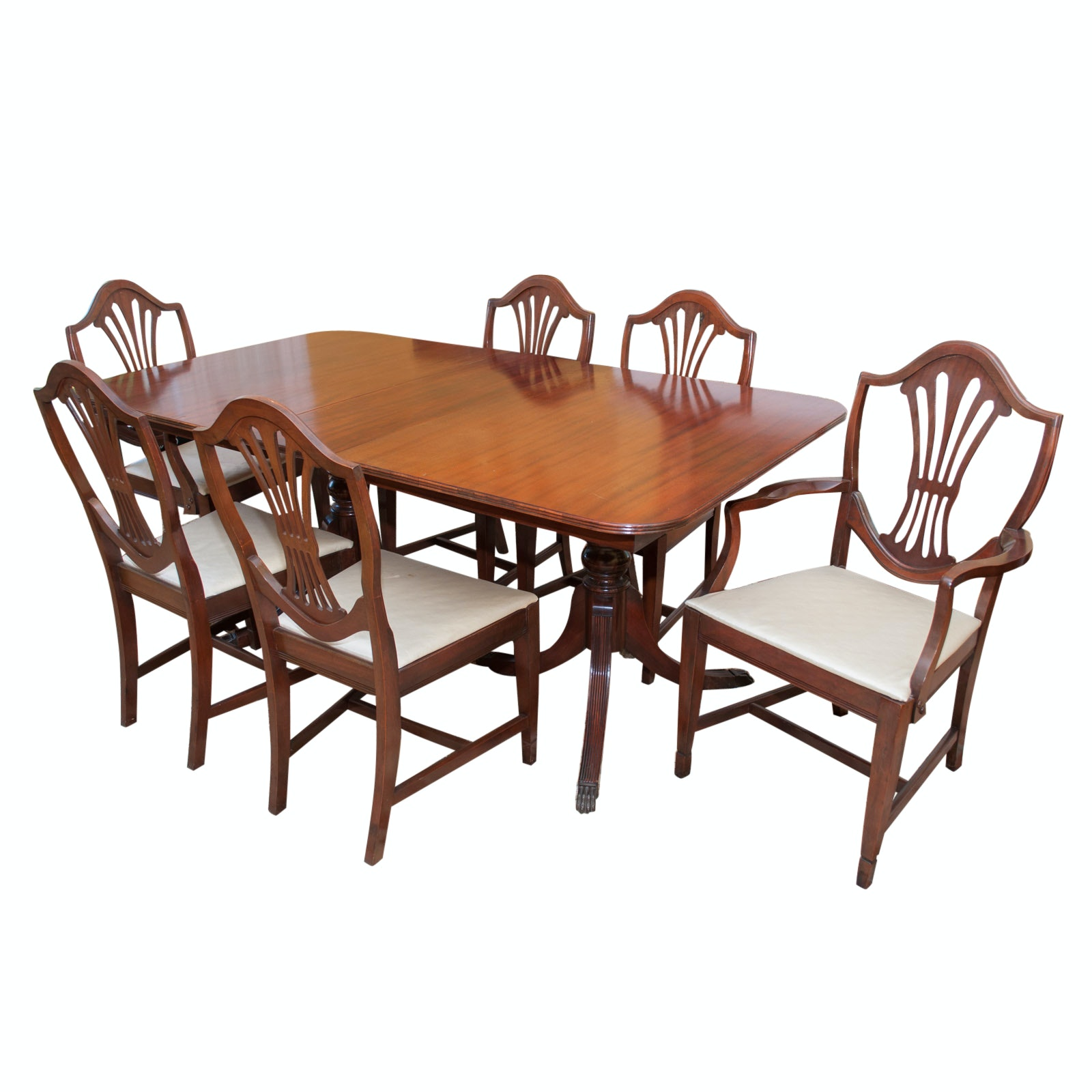Hepplewhite-Style Extension Dining Table with Chairs