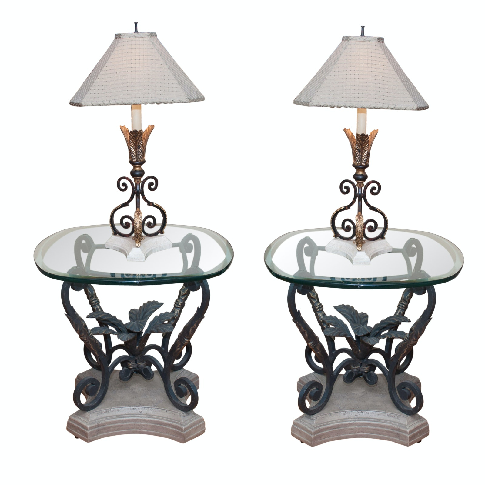 Pair of Glass-Top Accent Tables with Lamps