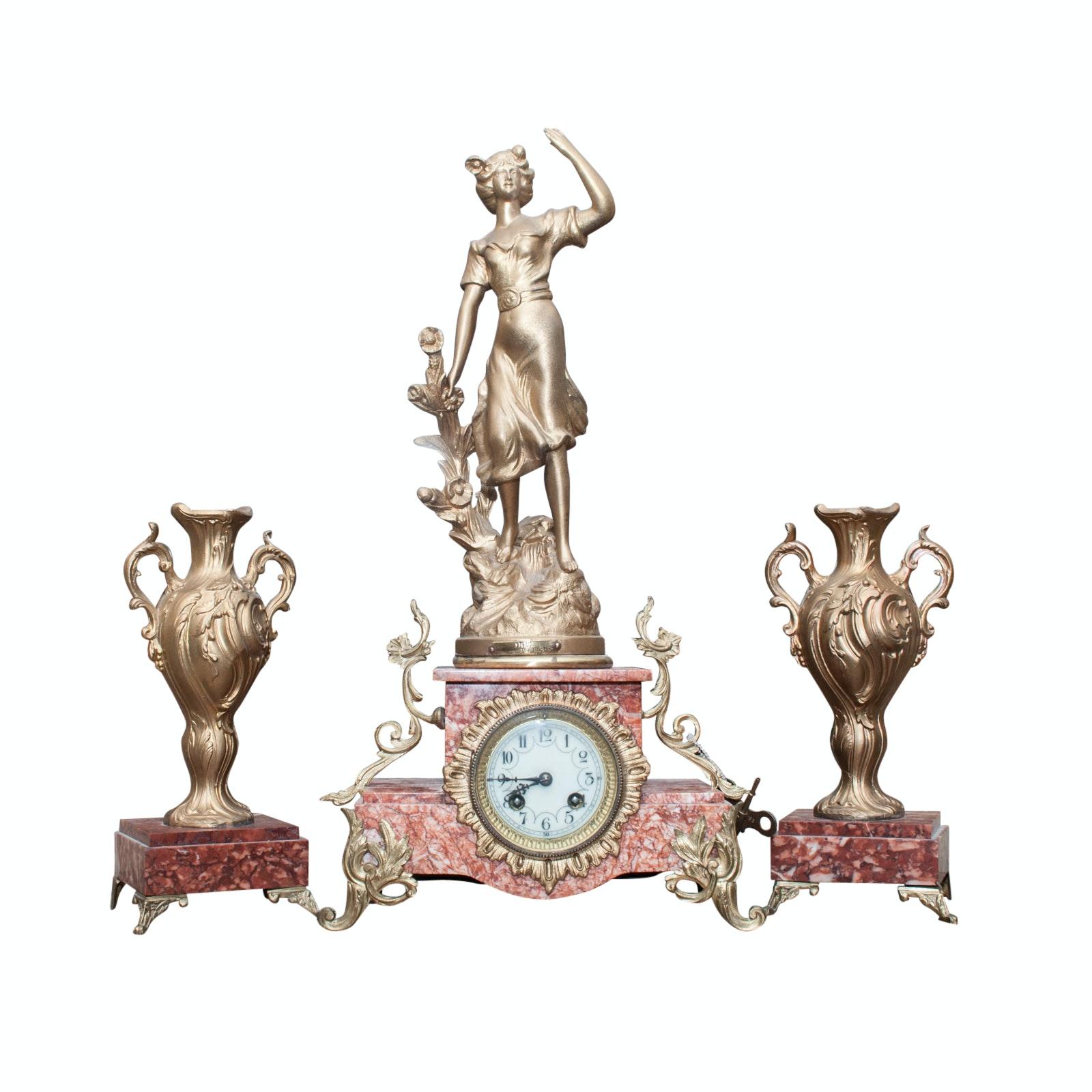 Vintage Charles Ruchot Reproduction Art Nouveau Mantel Clock with Urn Garnitures
