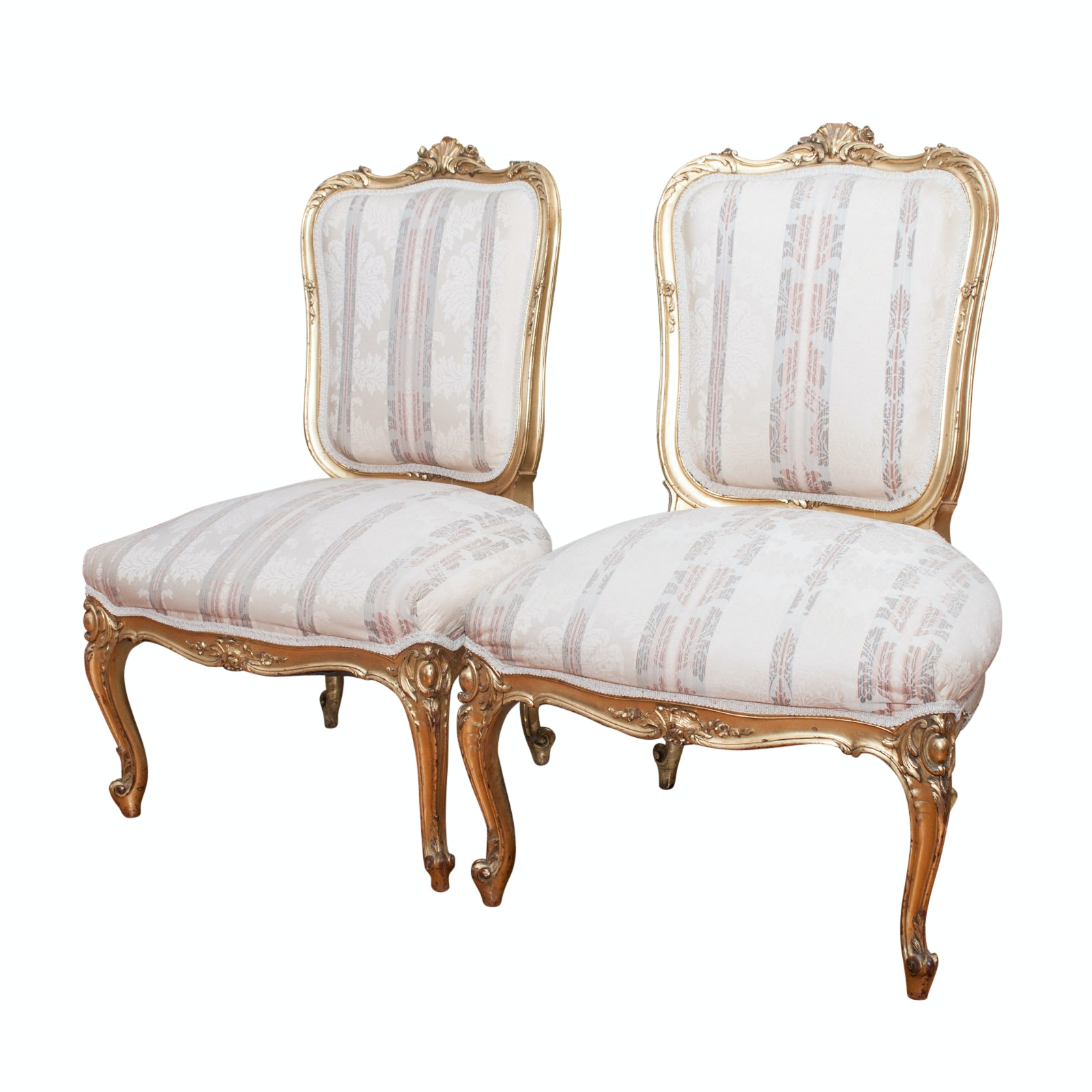Pair of Antique Louis XV-Style Side Chairs