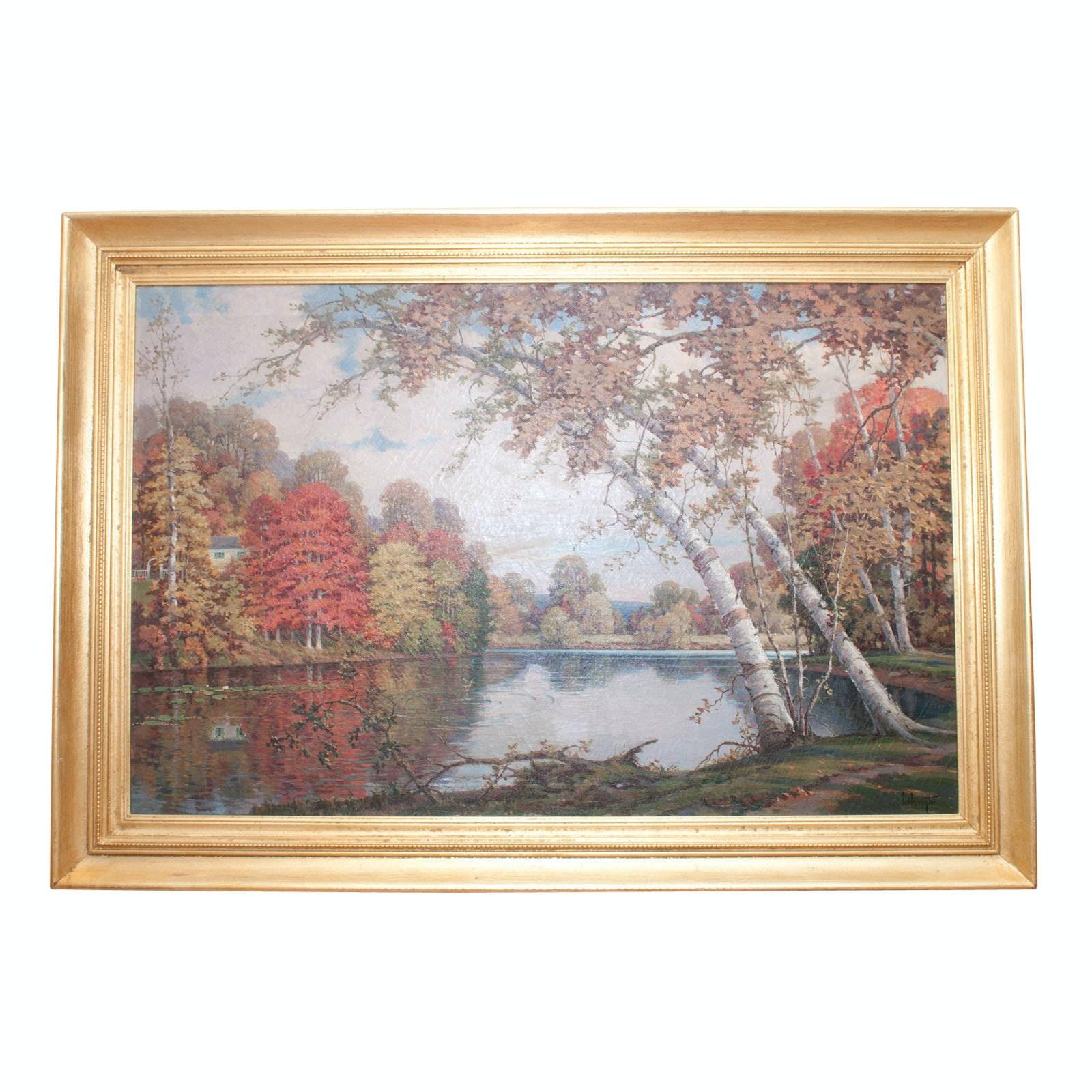 William Wright Oil on Canvas Landscape