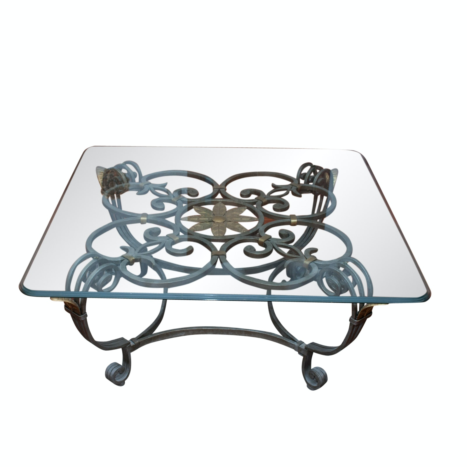 Glass-Top Coffee Table with Metal Base