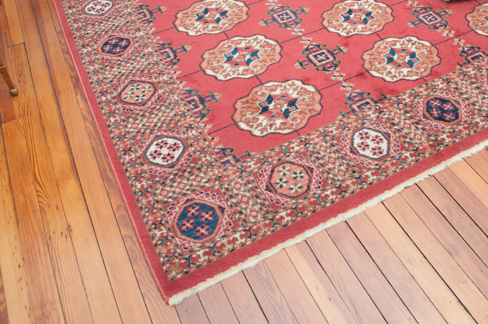 Hand-Knotted Bokhara-Style Wool Area Rug