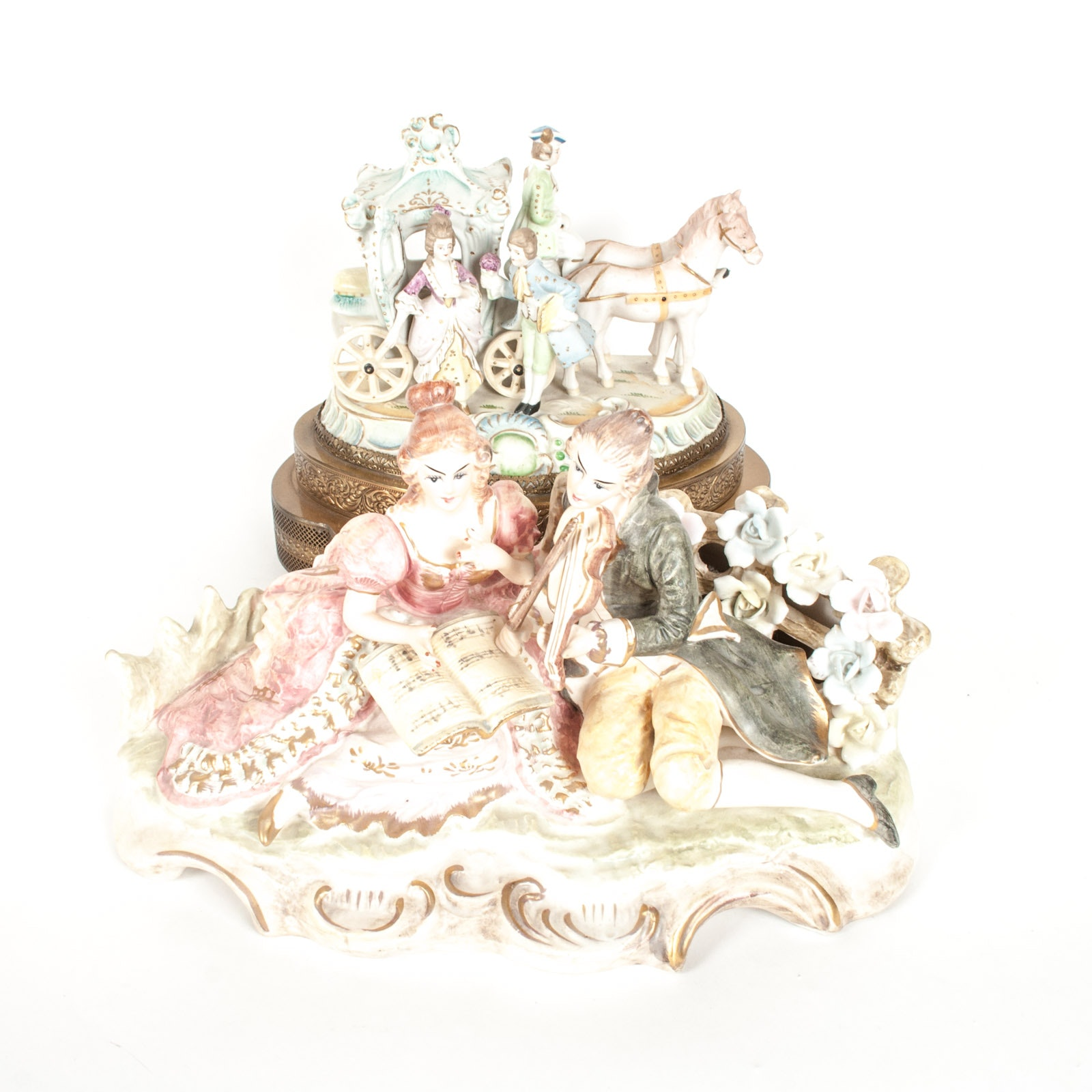 Figural Capodimonte Style Musical Nightlight and Porcelain Figurine