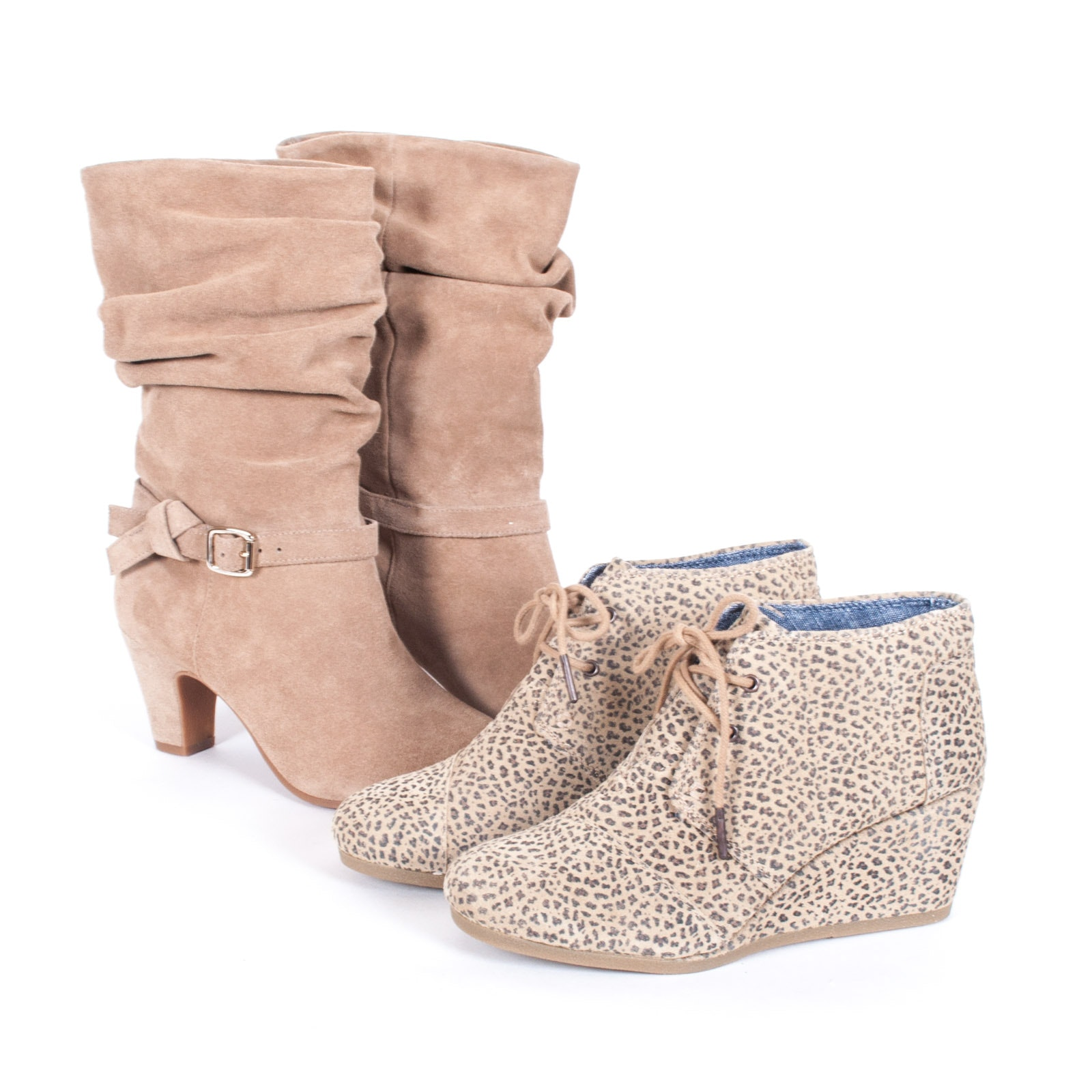 Toms Wedge Booties and Alex Marie Tan Suede Boots