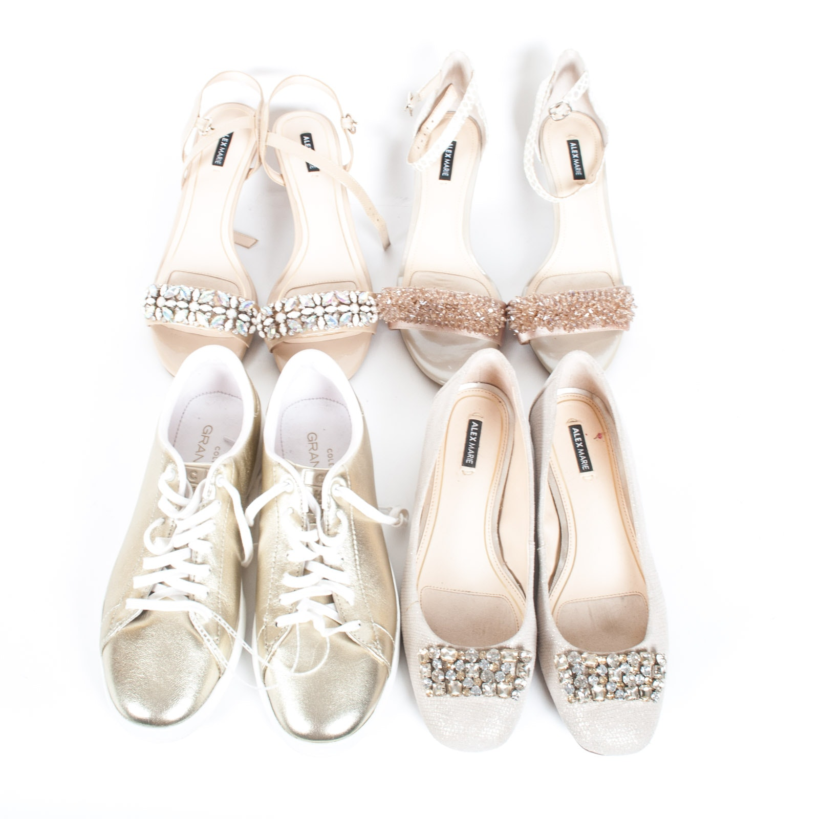 Alex Marie Embellished Heels and Cole Haan Gold Metallic Sneakers in Size 8