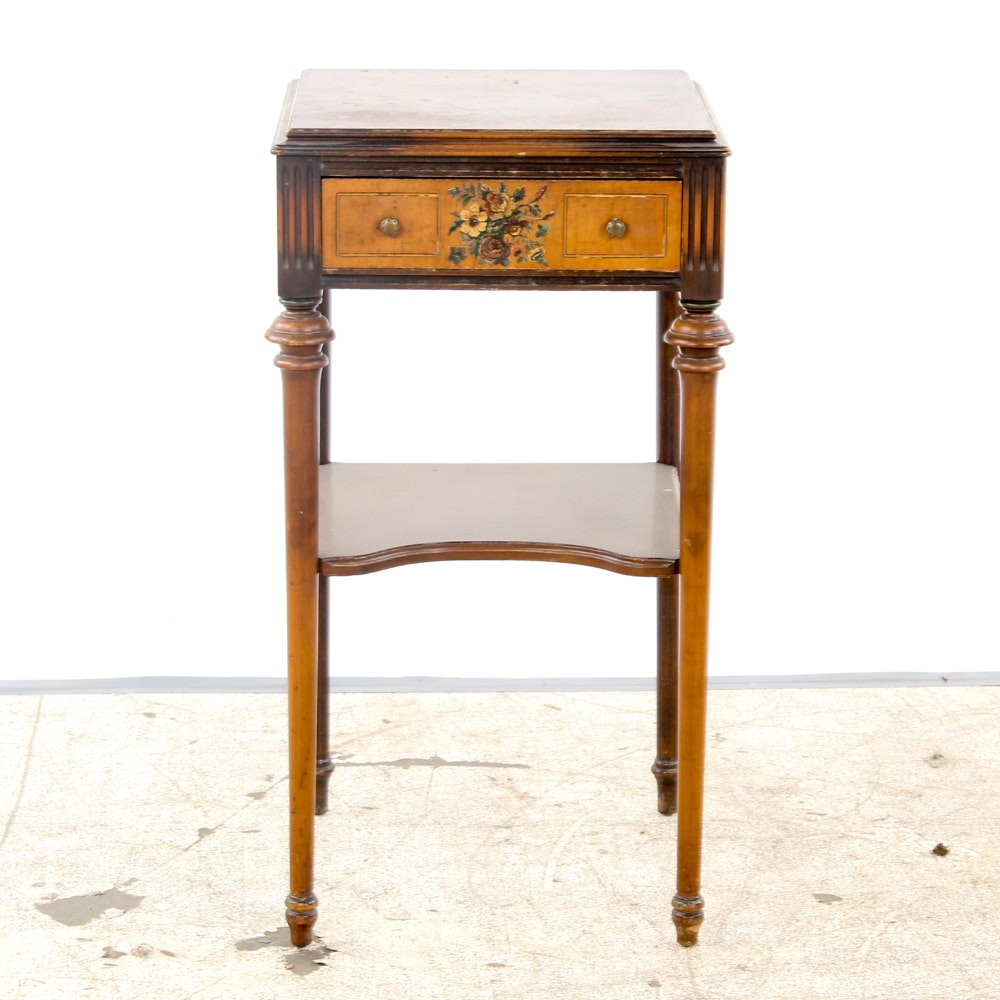 Floral Accent Sheraton Style Side Table