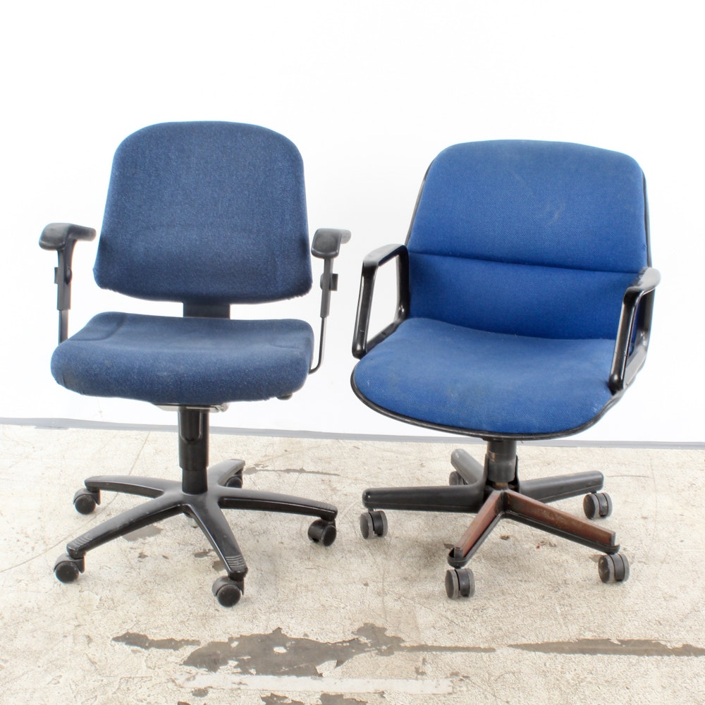 Blue Upholstered Rolling Office Chairs