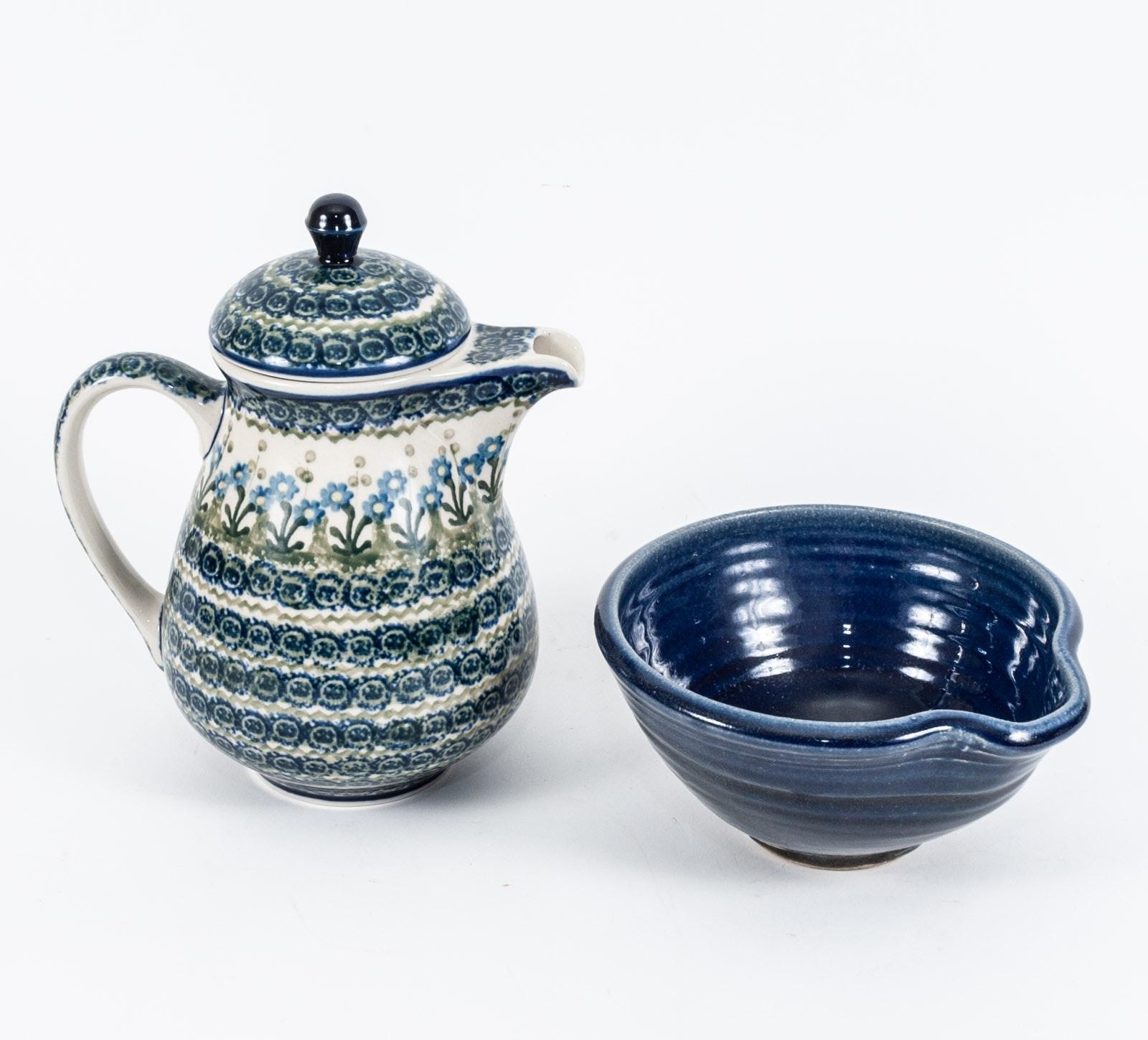 Wheel Thrown Hand-Painted Stoneware Serveware