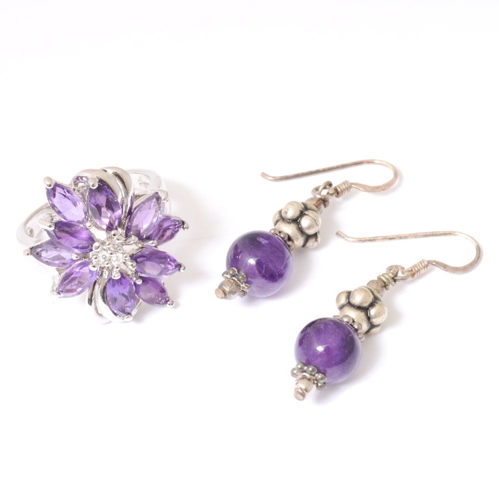 Sterling Silver, Amethyst, and Cubic Zirconia Ring and Earrings