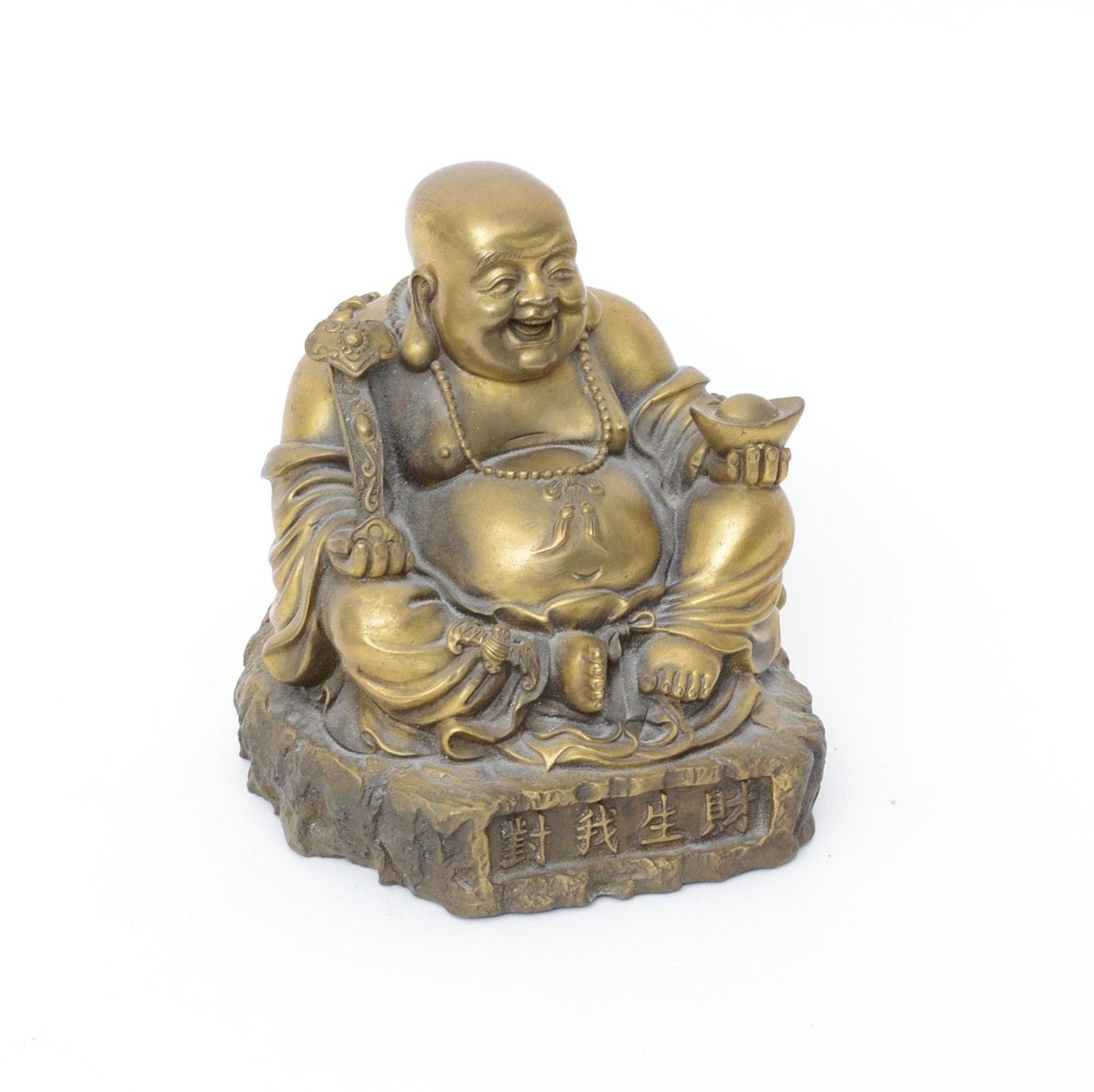 Chinese Cast Brass Budai Figurine