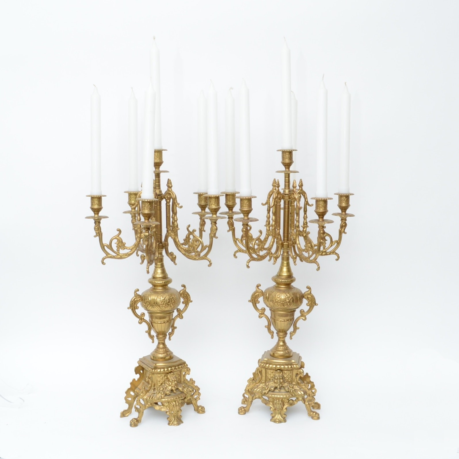 Pair of Neo Classical Style Brass Candelabra