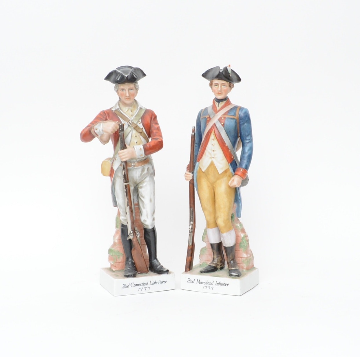 Pair of Vintage Porcelain Revolutionary  War Figurines