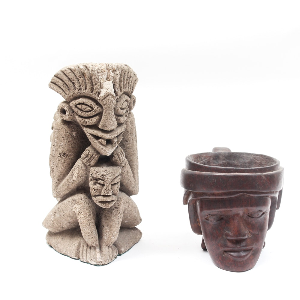 Carved Wood Tribal Mug and Cast Stone Statue