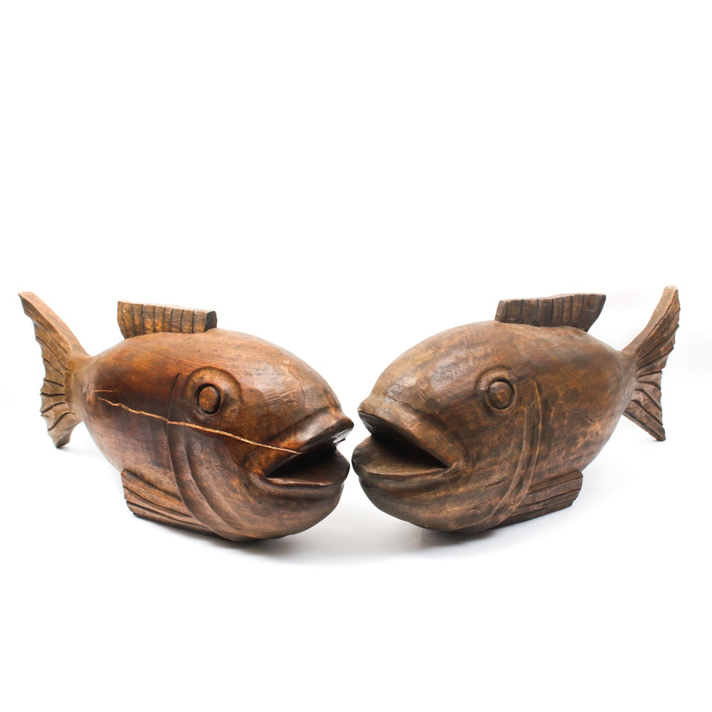 Carved Wood Fish Sculptures