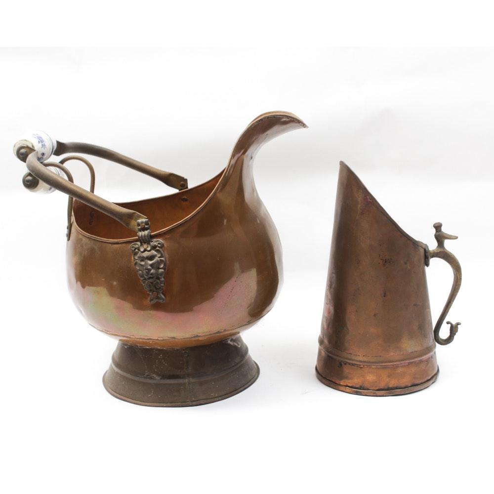 Antique Copper Coal Scuttle and Pitcher
