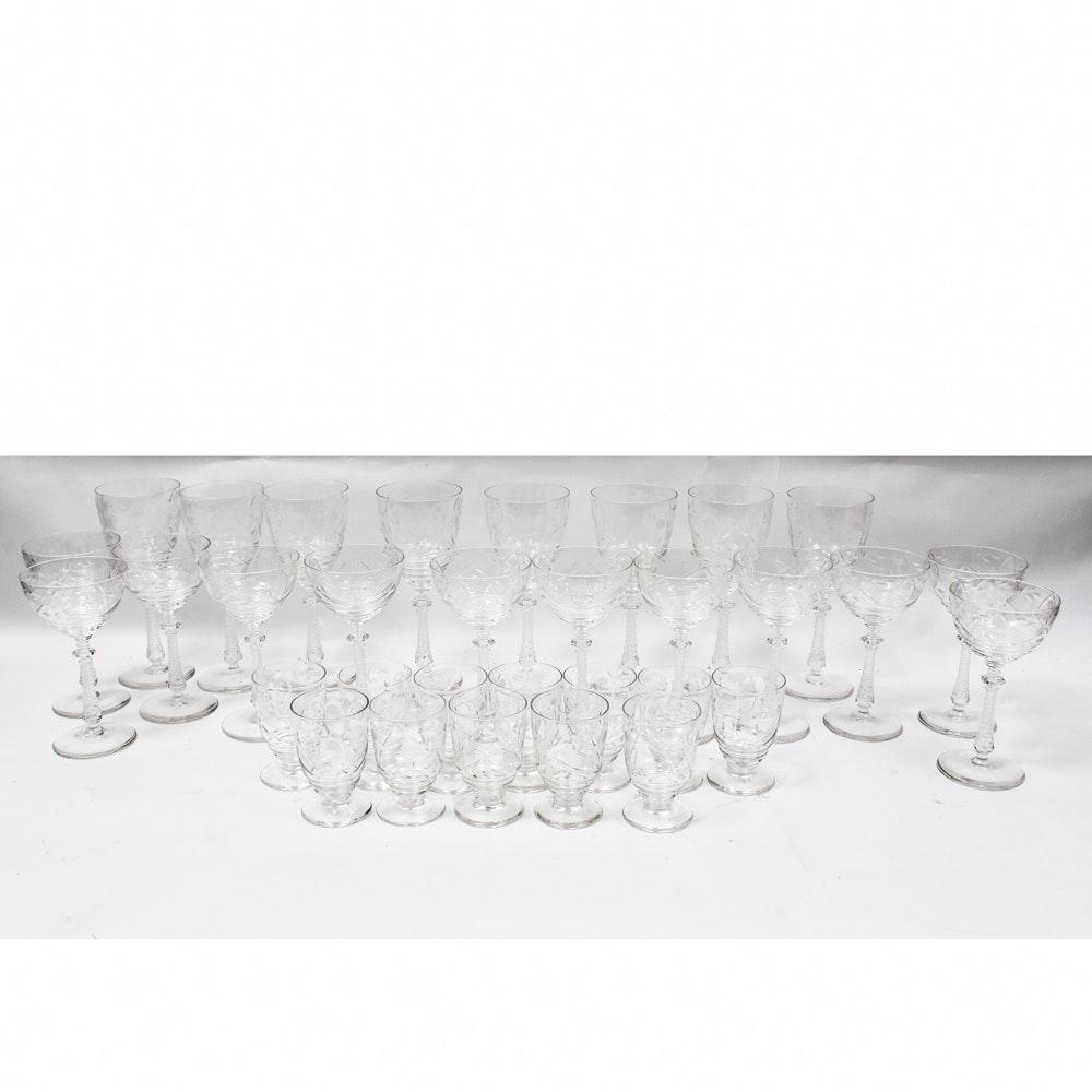 Vintage Floral Cut Crystal Stemware