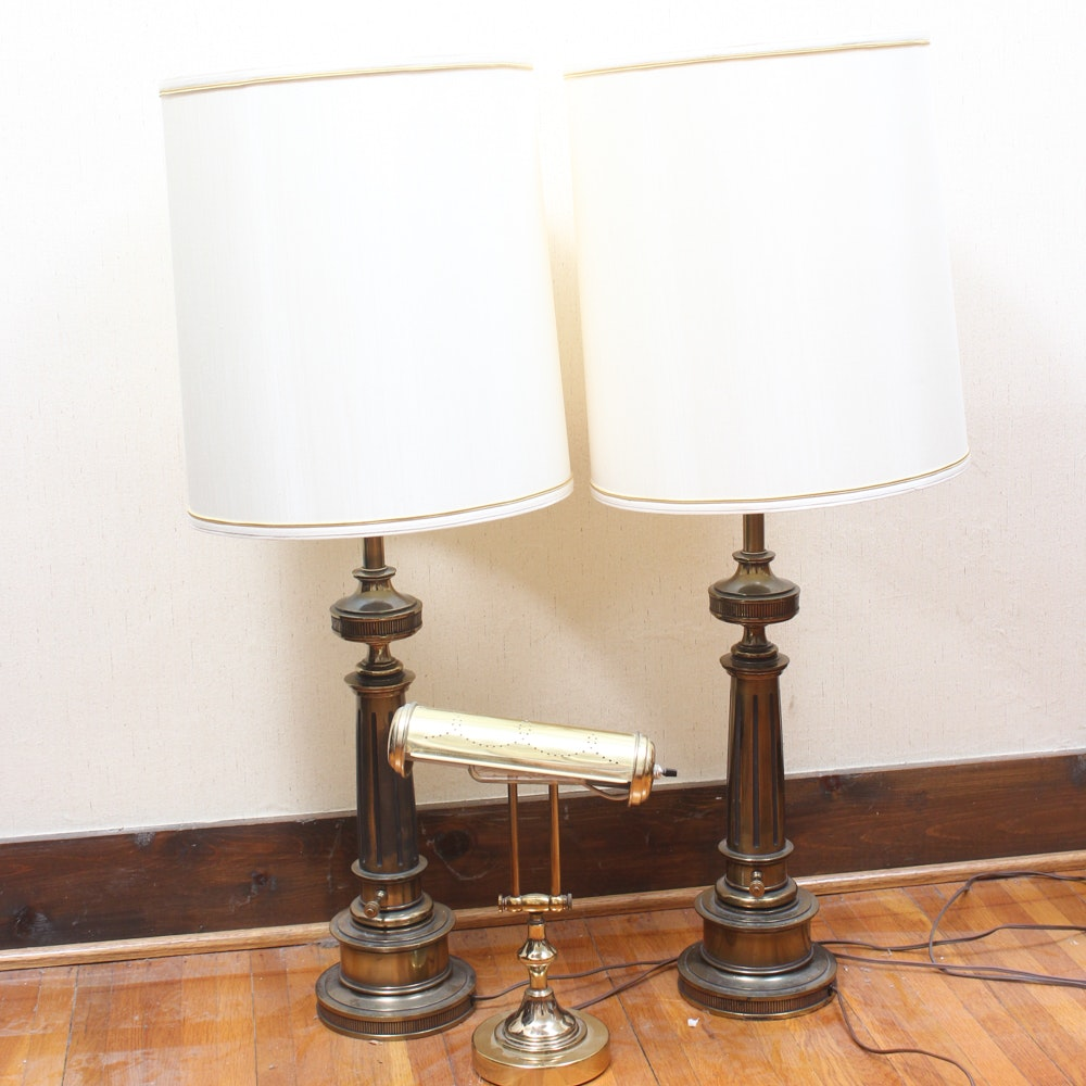 Vintage Brass Table Lamps and Brass Piano Lamp