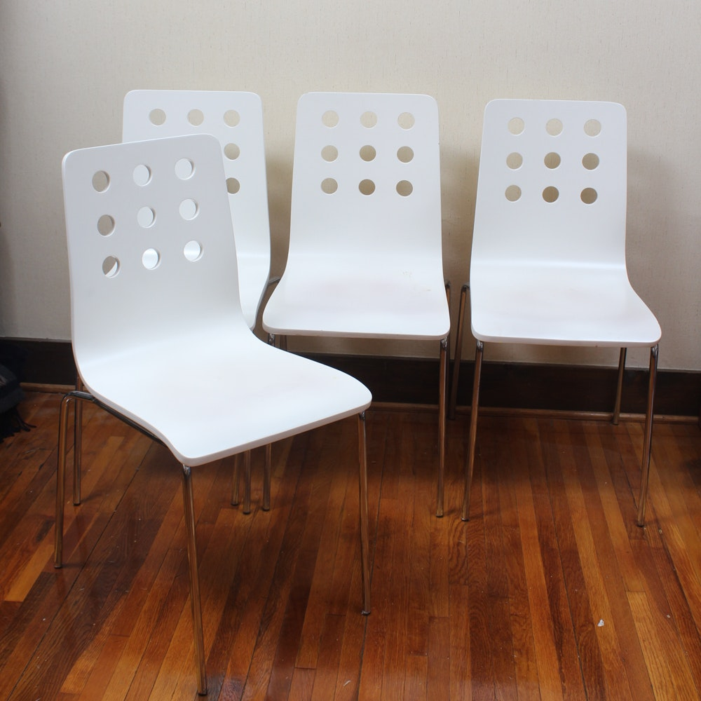 Contemporary Wood and Metal Dining Chairs
