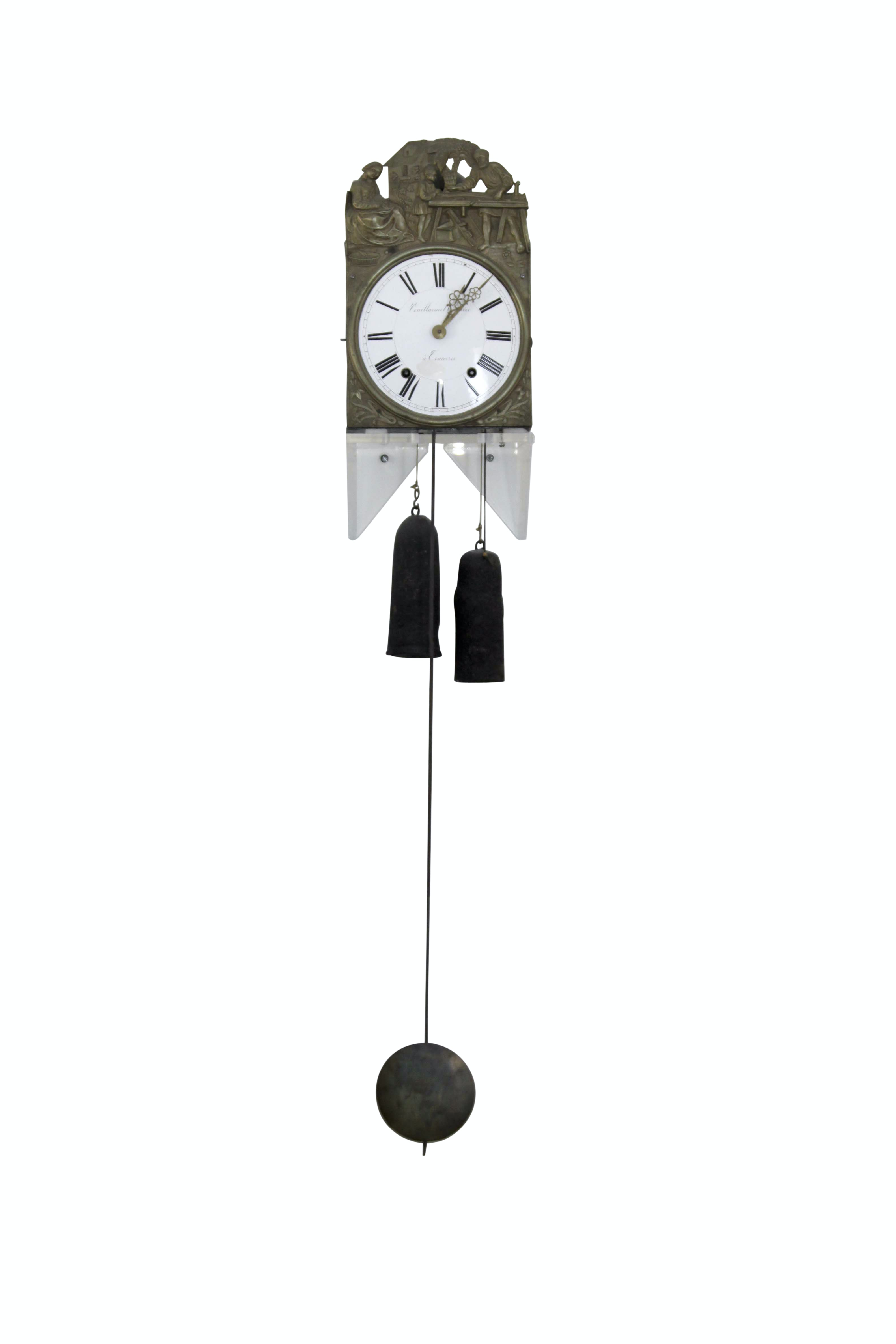 Antique French Comtoise Vouillarmet à Connerré Wall Clock