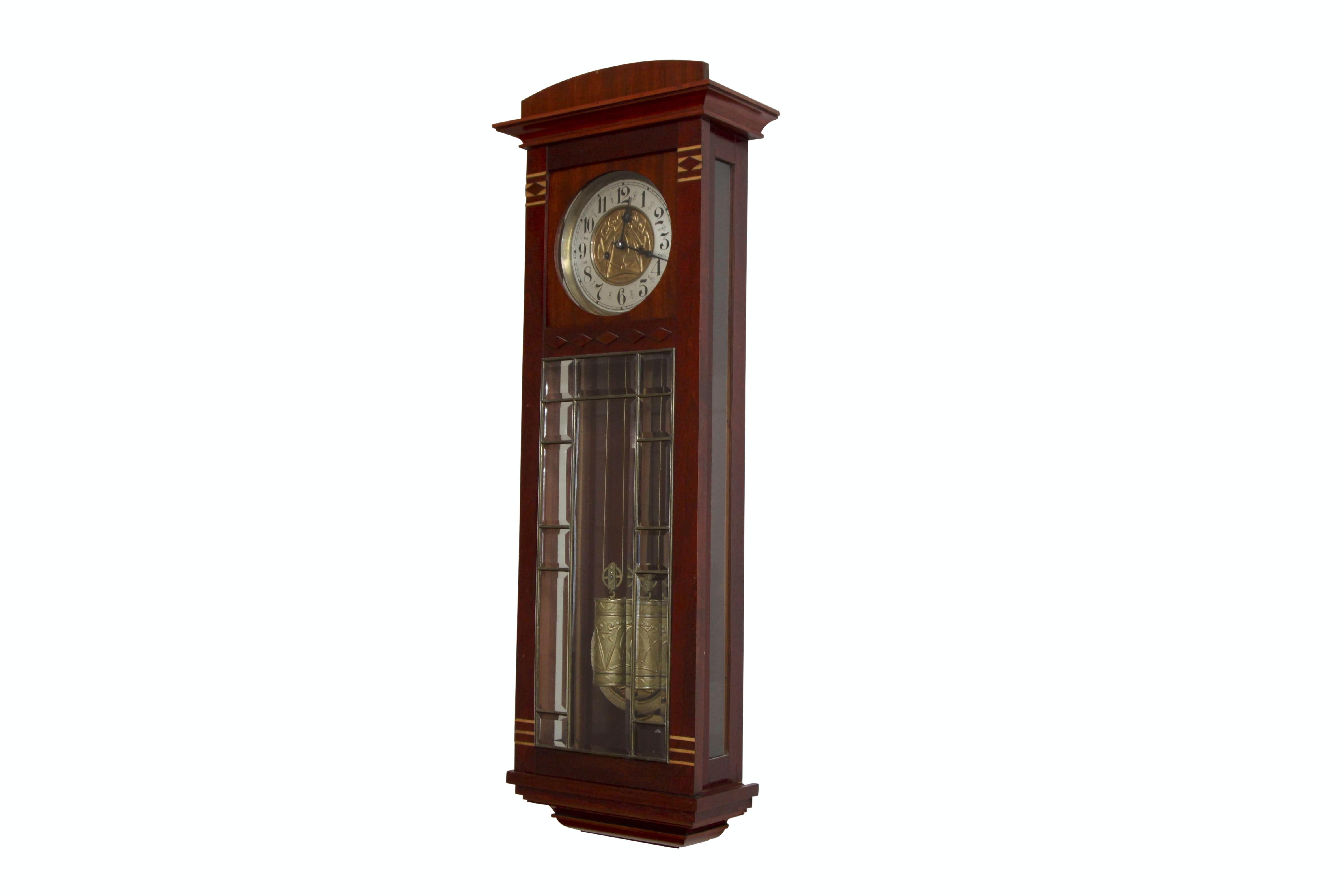 Vintage Art Deco Beveled Glass Wall Clock