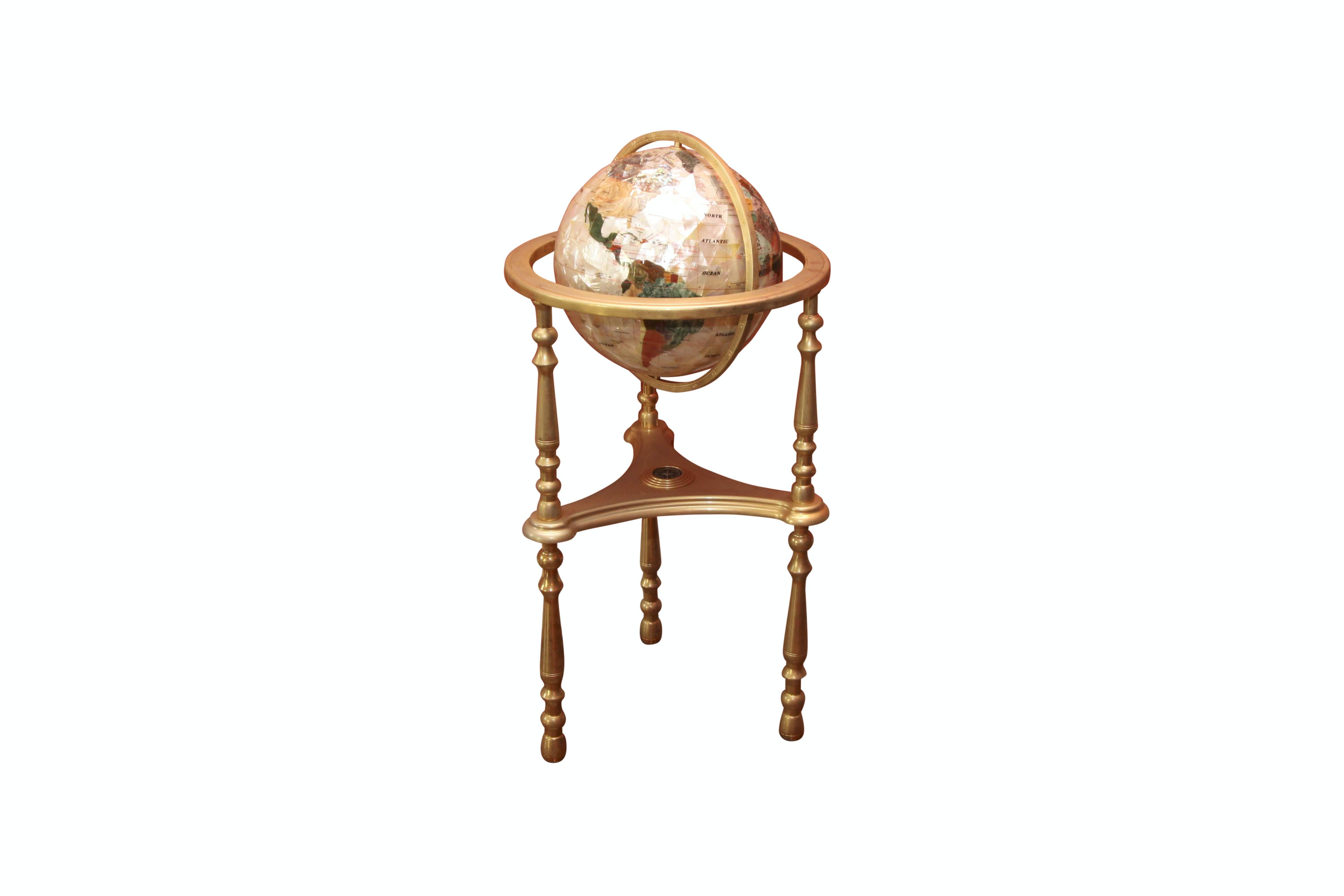 Mother of Pearl and Semi Precious Stone Globe