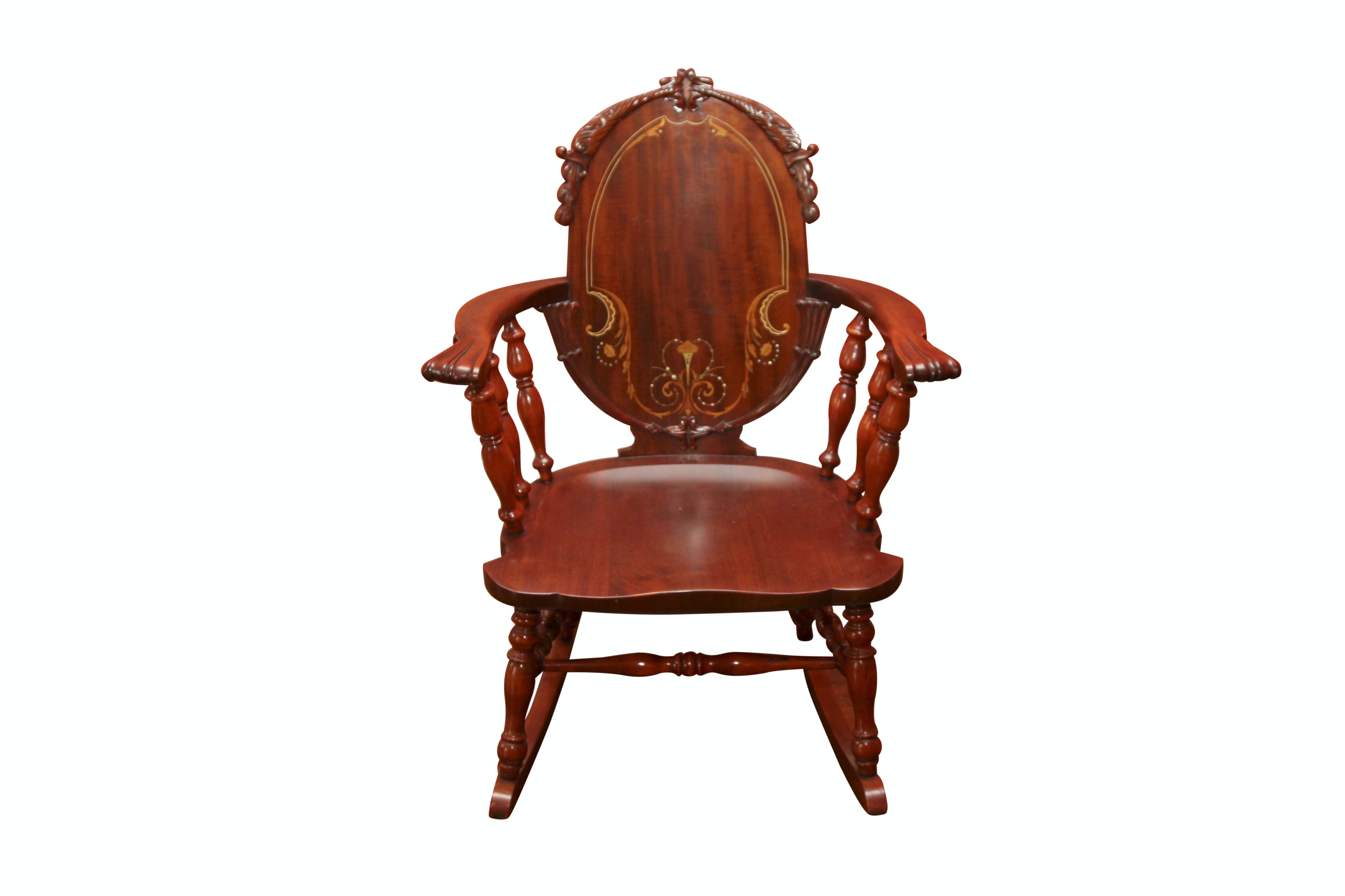 Antique Robert Mitchell Rocking Chair with Marquetry and Mother of Pearl Inlay