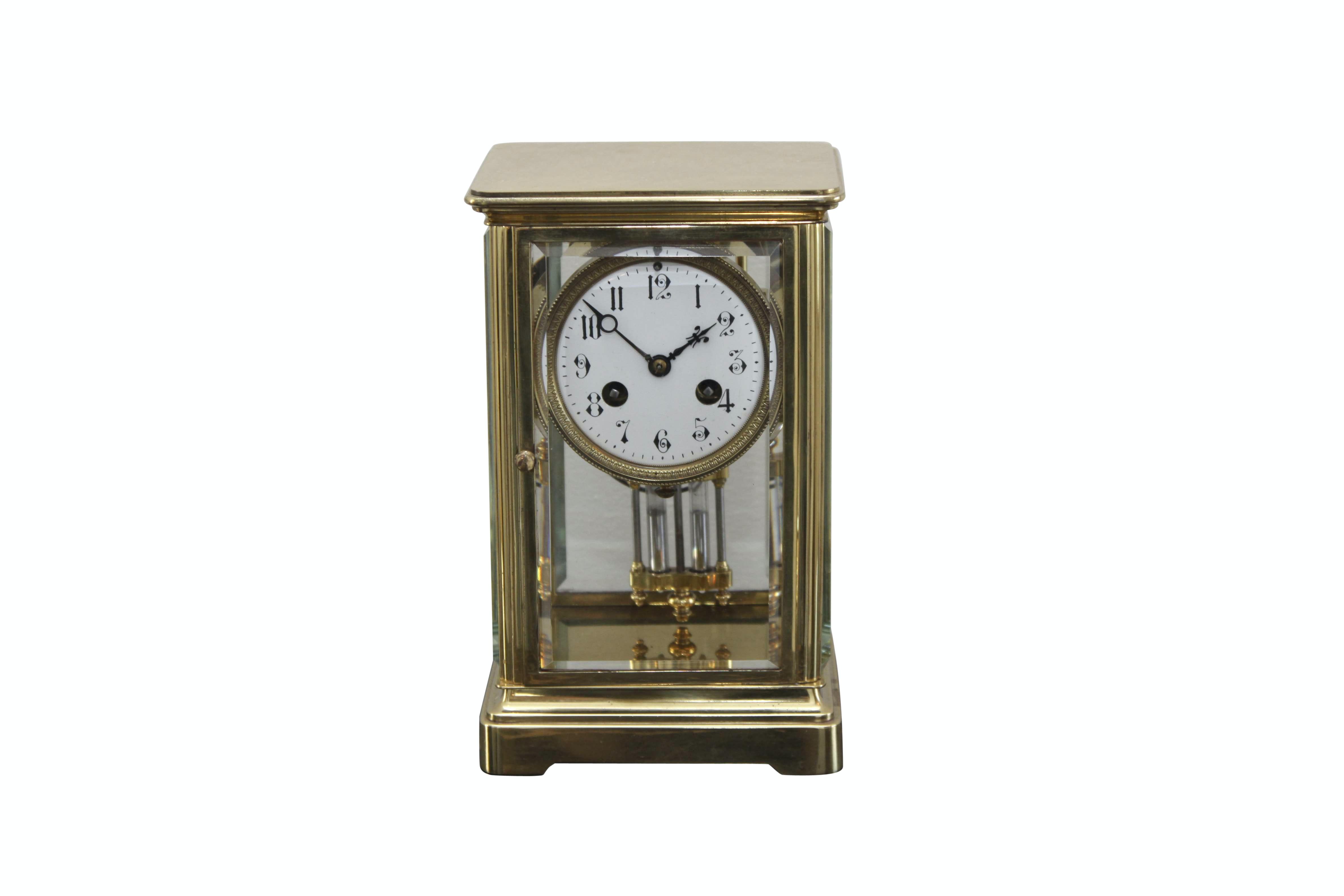 Antique Brass Mantel Clock with Mercury Pendulum