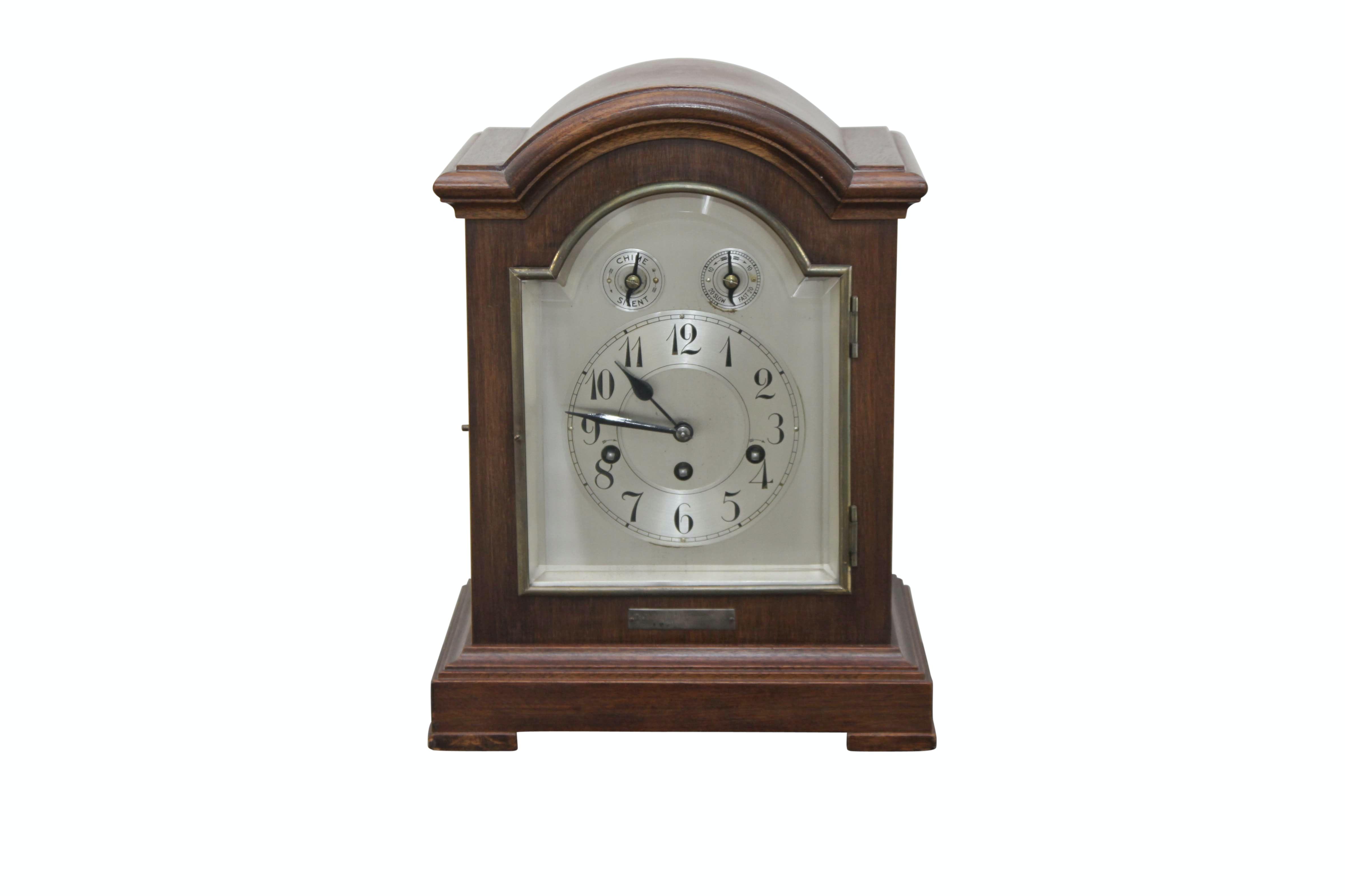 Antique Junghans Chiming Mahogany Mantel Clock