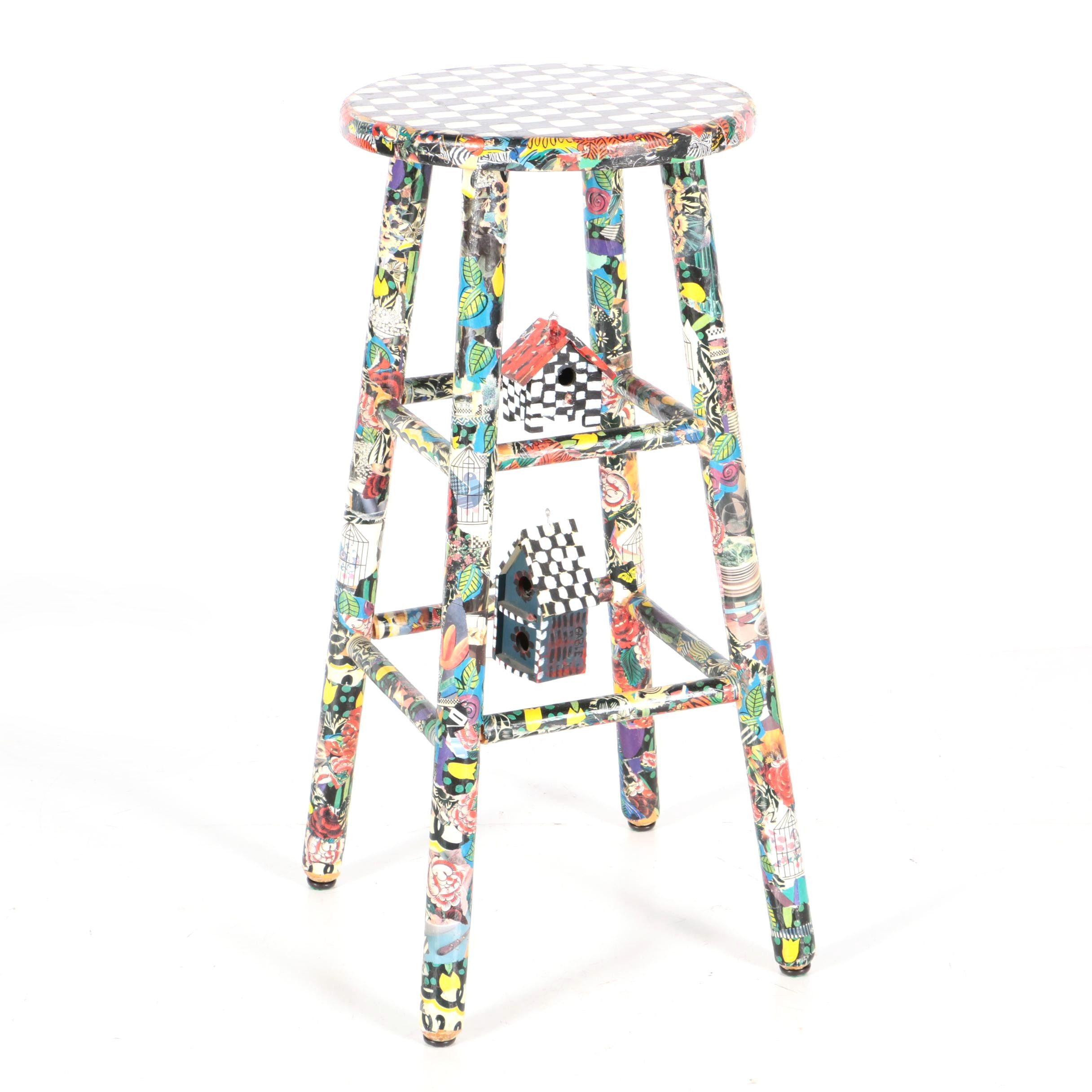Decoupage and Hand Painted Bar Stool with Bird Houses