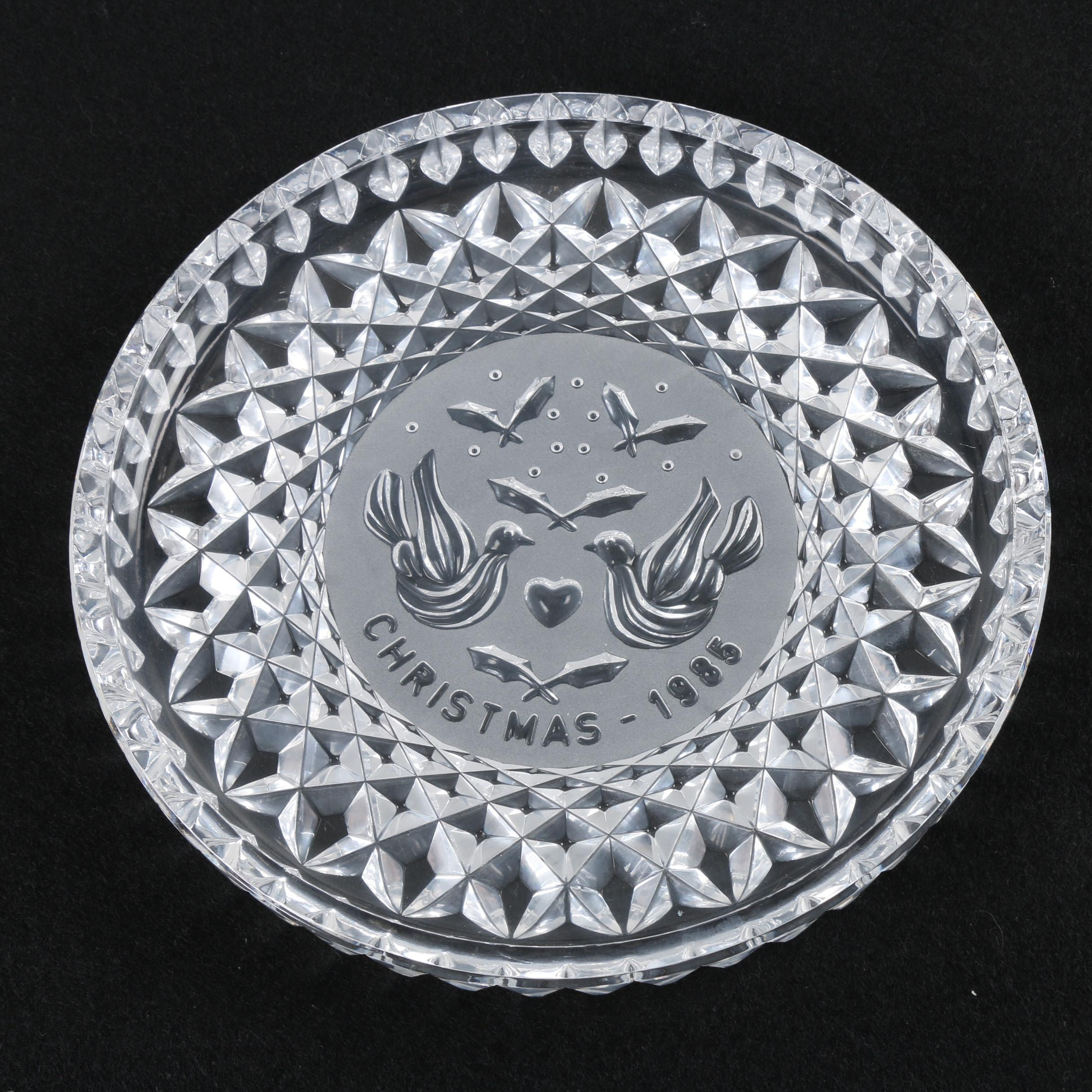 """1985 Waterford Crystal """"Twelve Days of Christmas"""" Turtle Dove Plate"""
