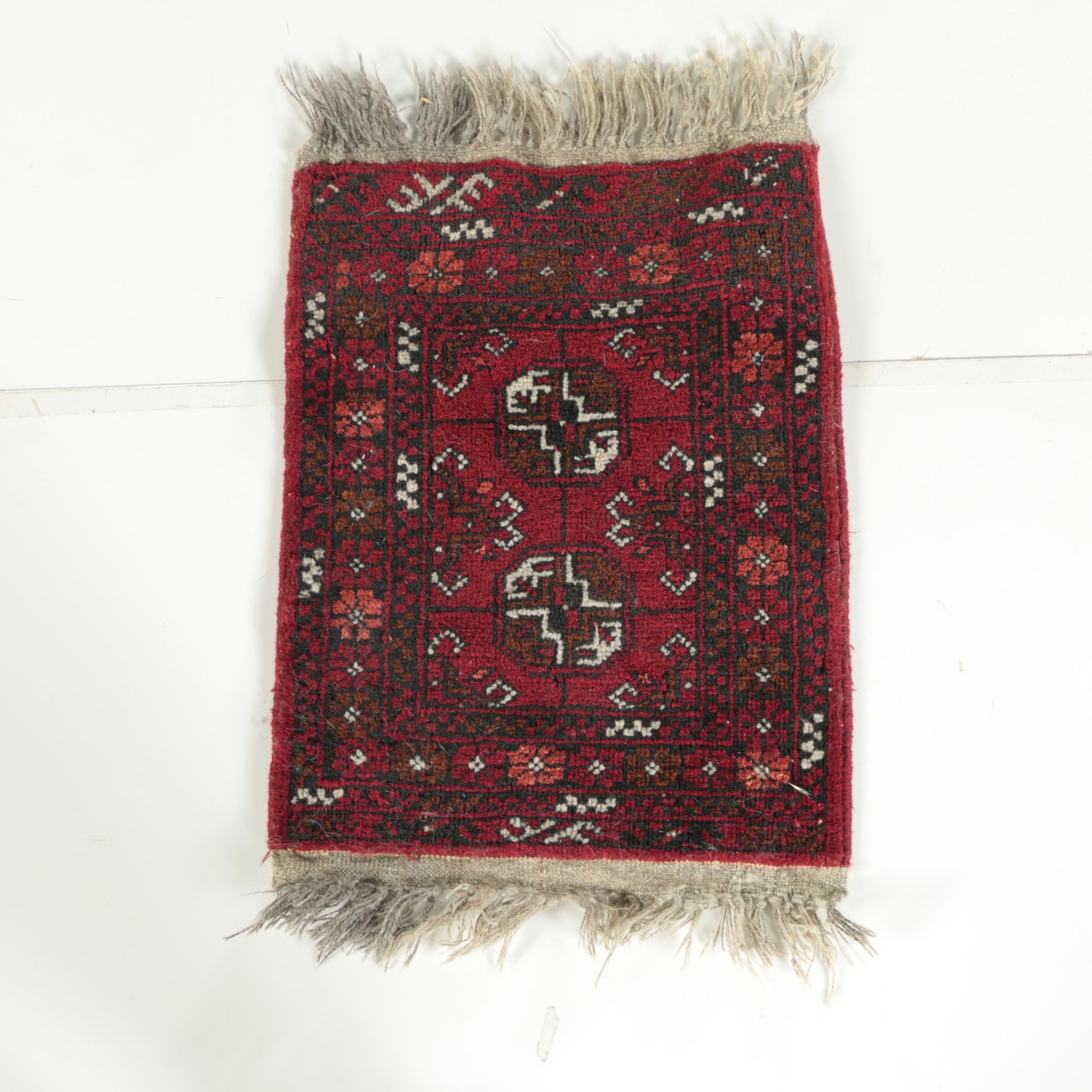 Hand-Knotted Pakistani Bokhara Accent Rug