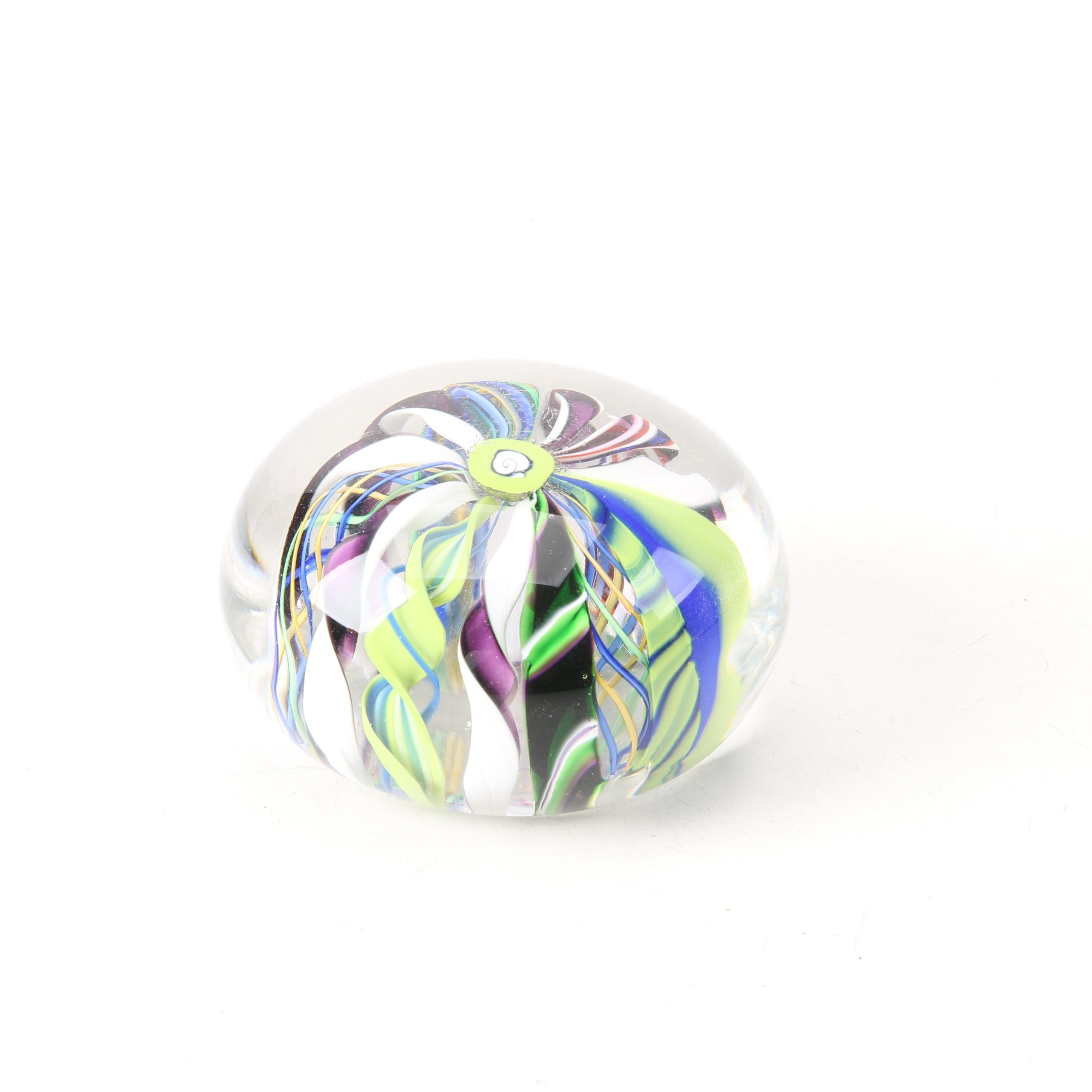 Kelley Art Glass Paperweight with Ribbon Motif