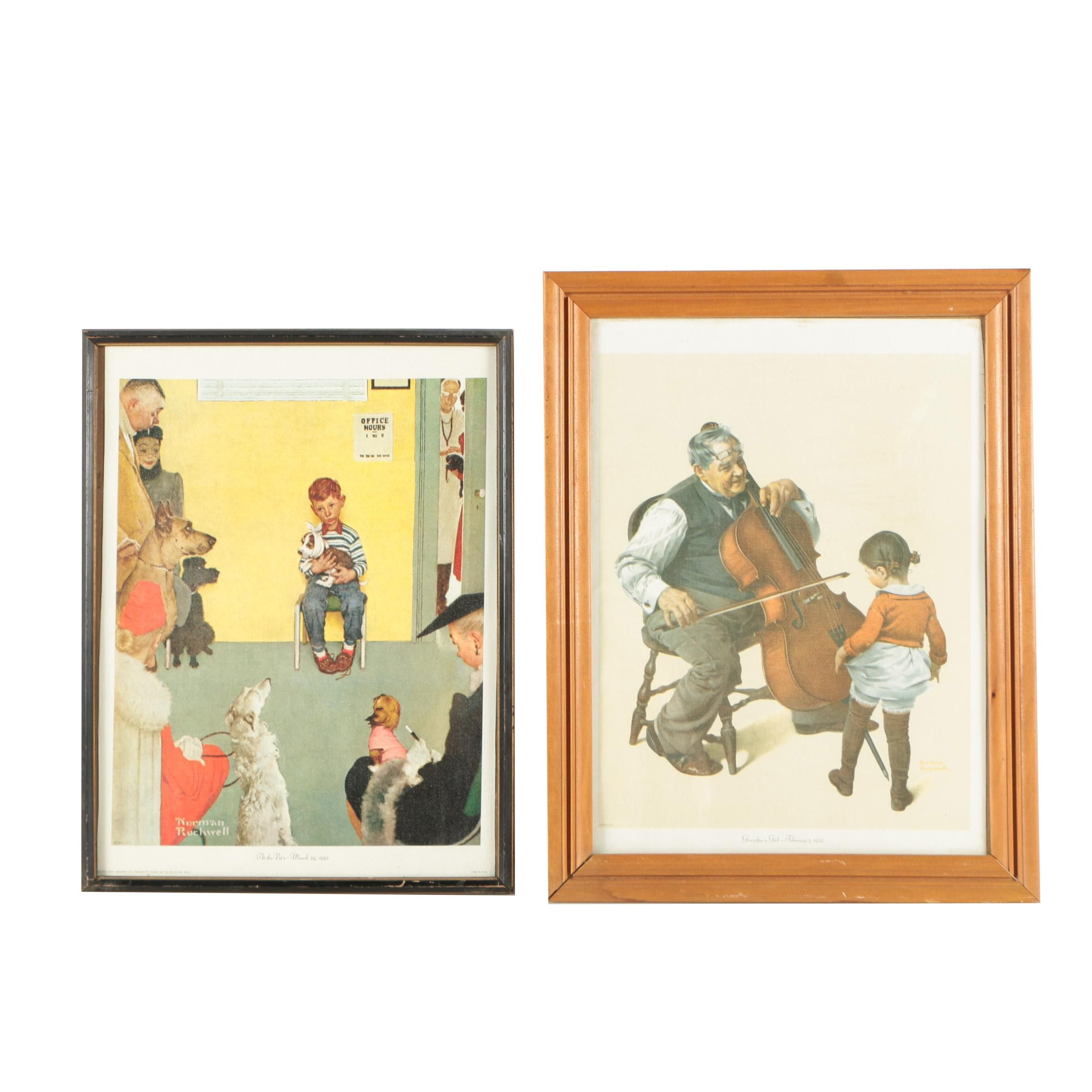 """Offset Lithographs After Norman Rockwell """"At the Vet's"""" and """"Grandpa's Girl"""""""