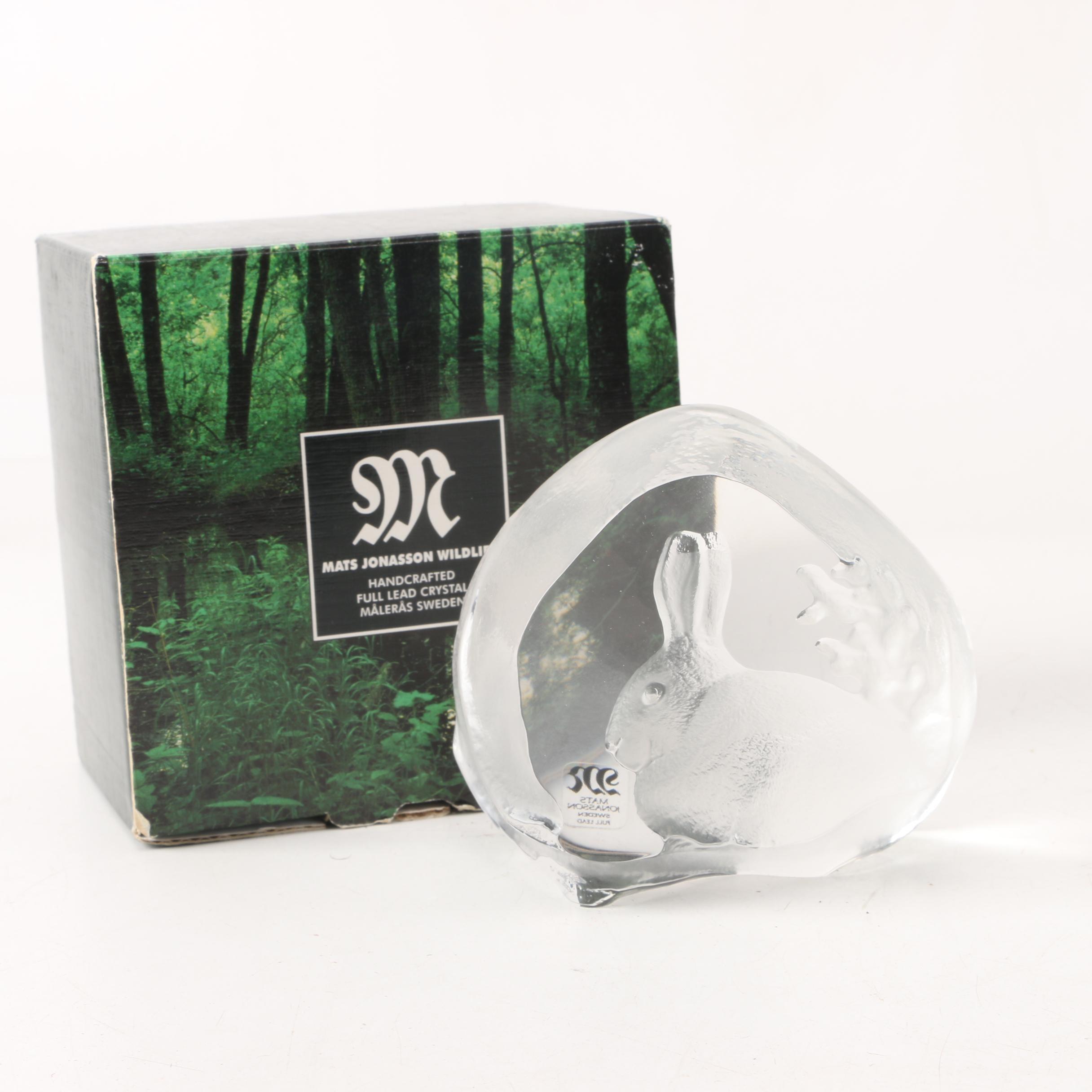 Mats Jonasson Wildlife Swedish Crystal Rabbit Paperweight