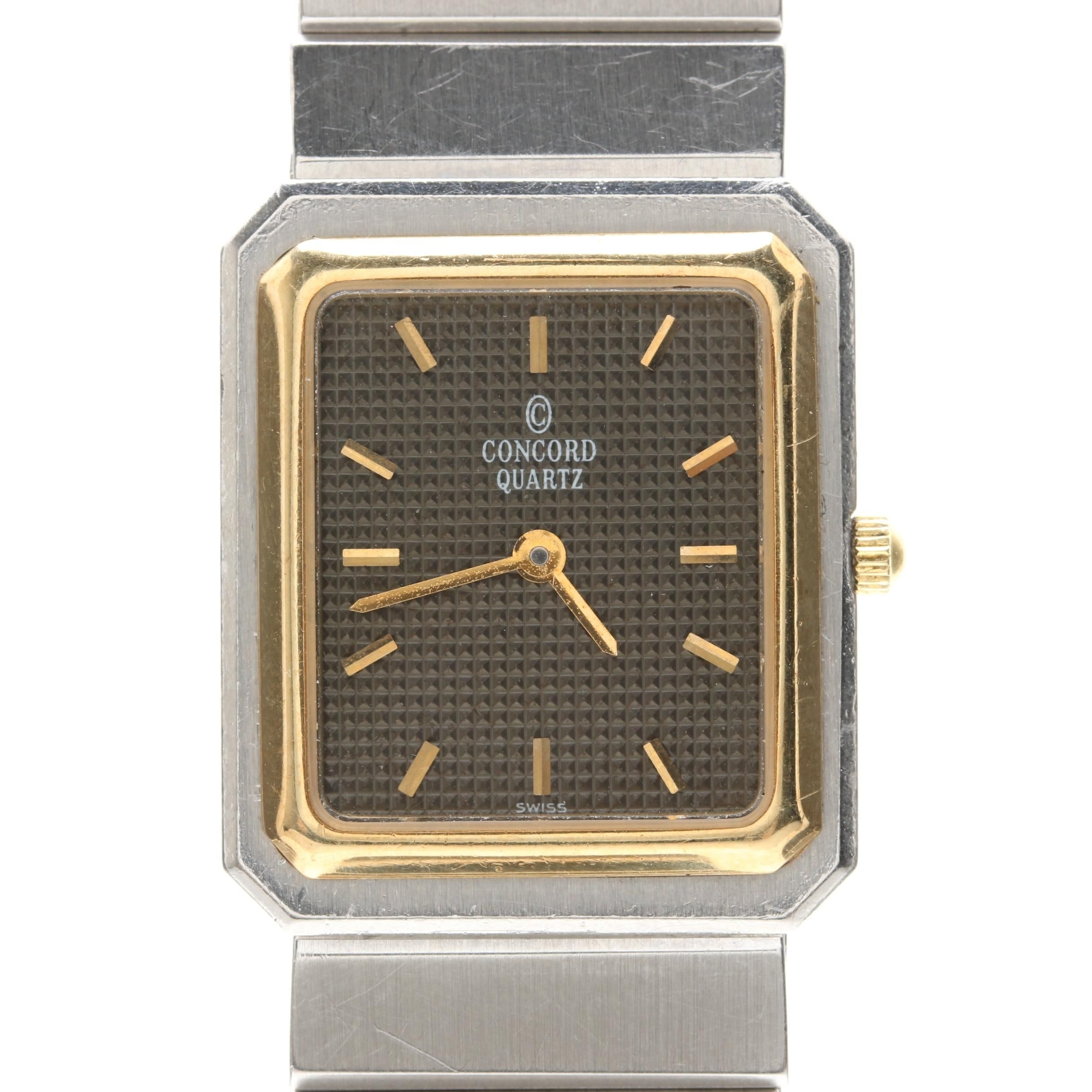 Concord Stainless Steel Wristwatch With 18K Yellow Gold Accents