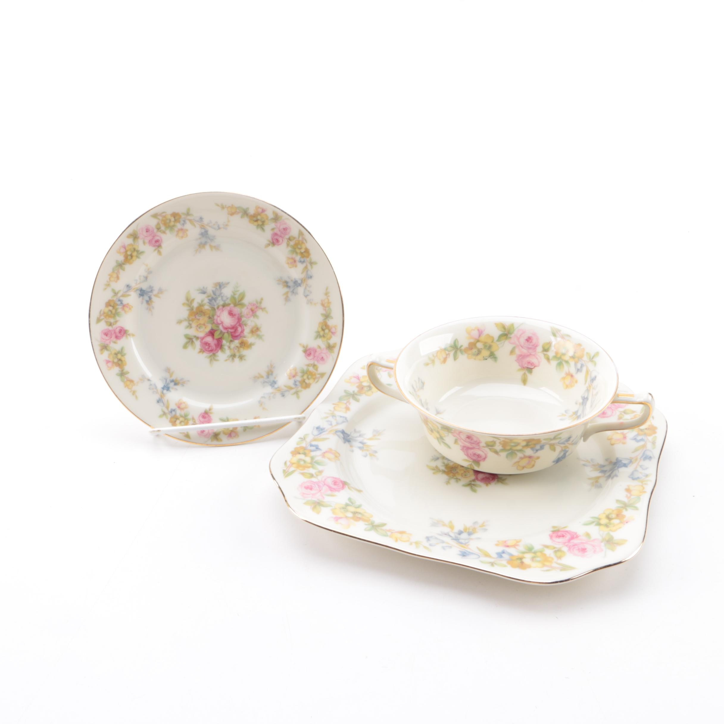 """KPM Royal Ivory """"Riviera"""" Double Handle Cream Soup Bowl, Saucer, and Salad Plate"""