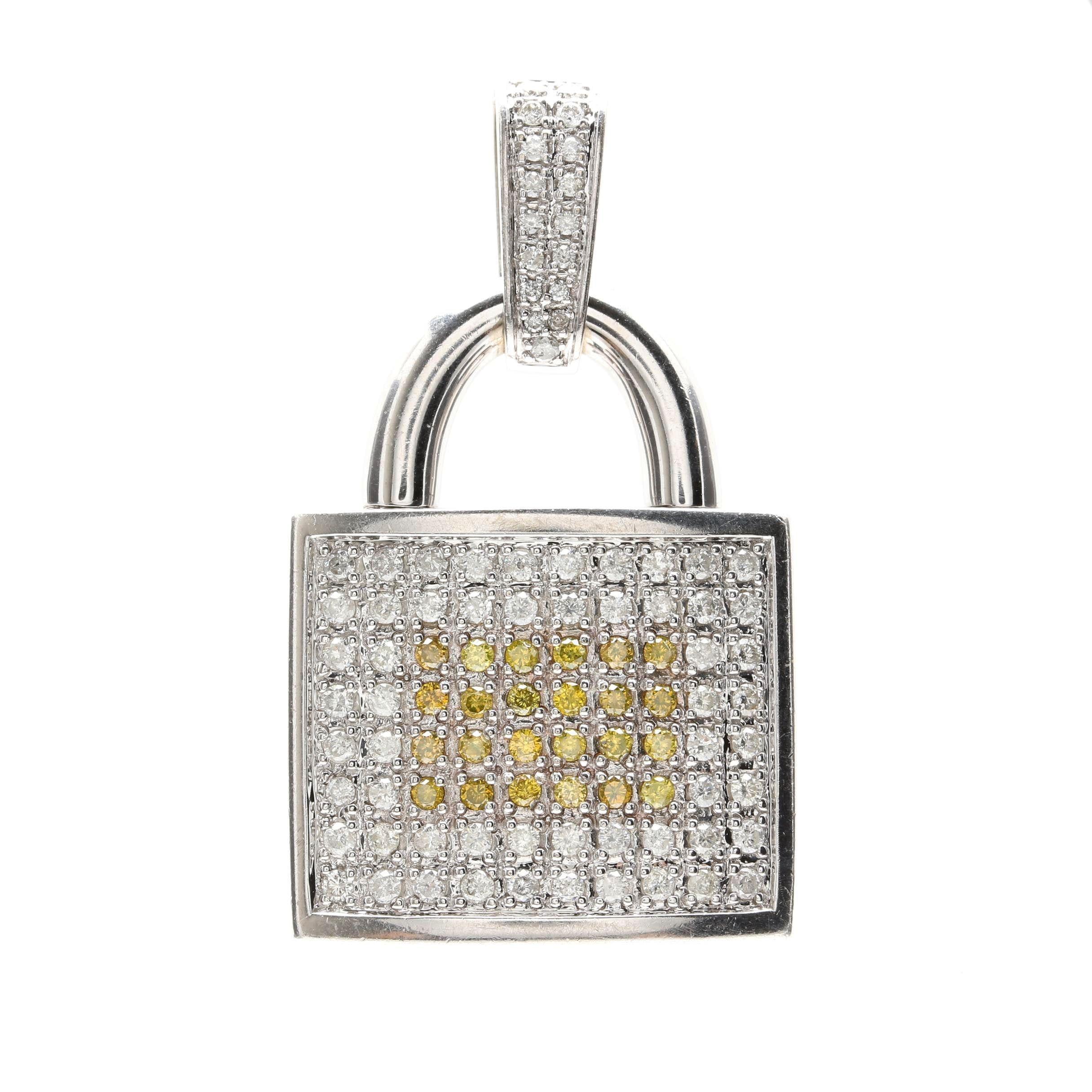14K White Gold 1.56 CTW Diamond Lock Pendant