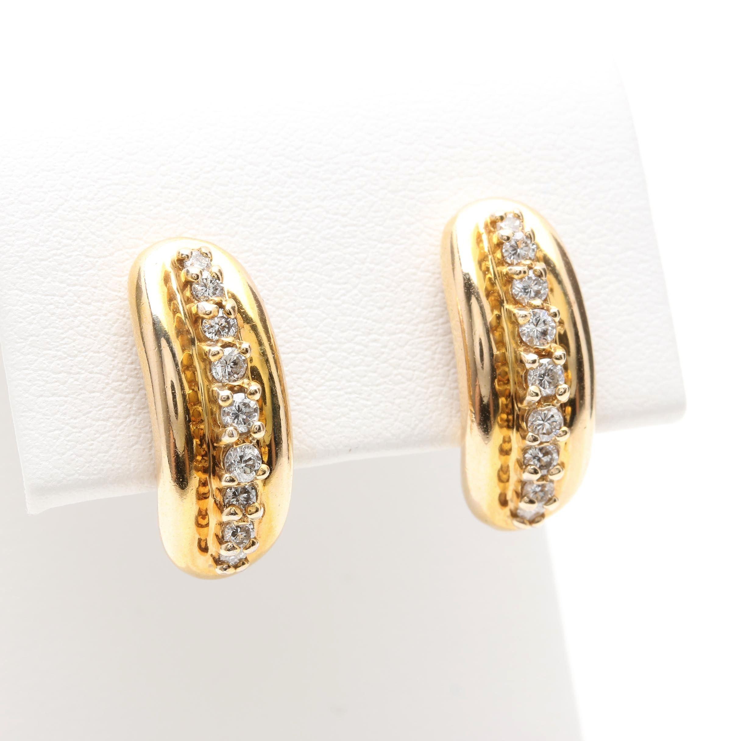 14K Yellow Gold Diamond Earrings