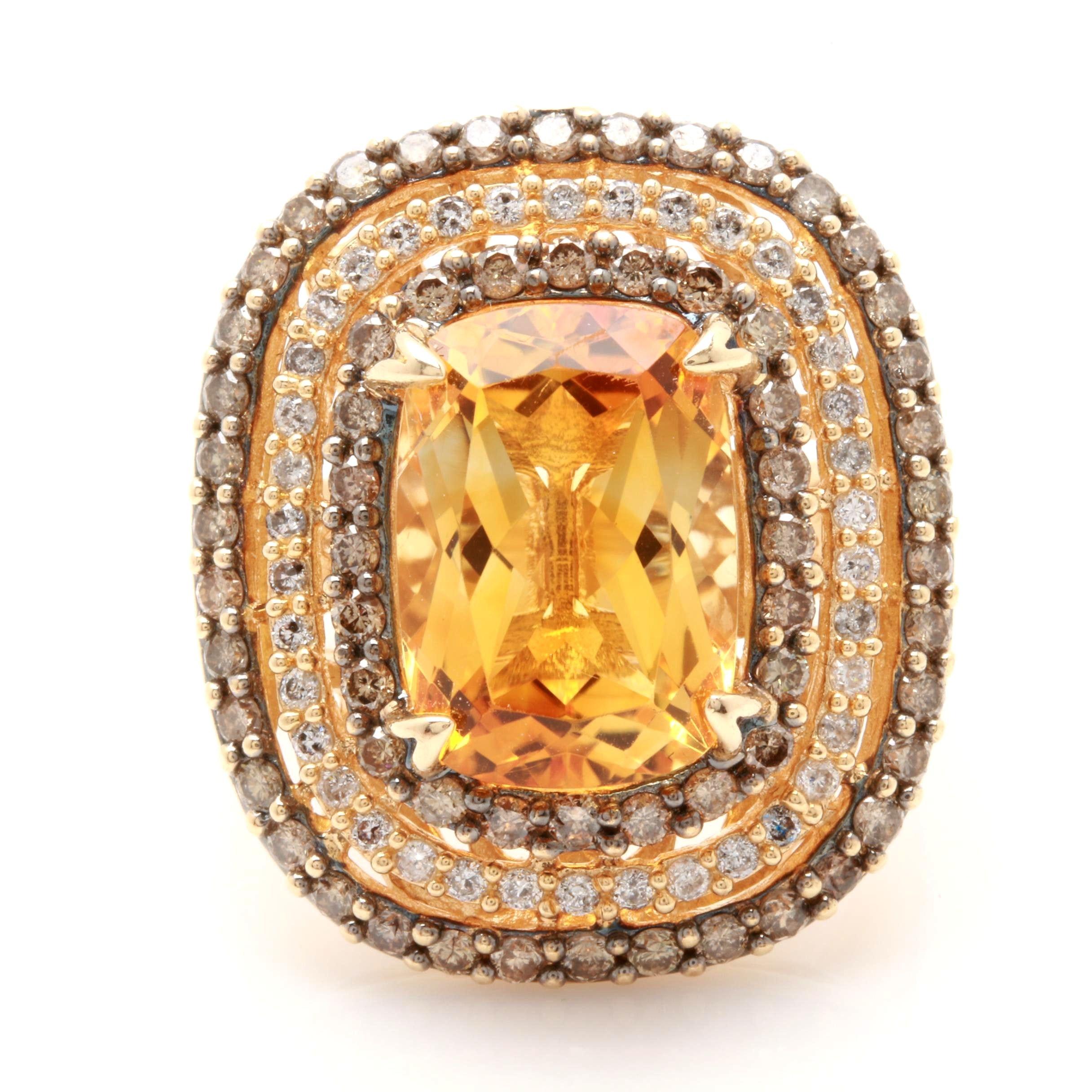 Effy 14K Yellow Gold 5.80 CT Citrine and 1.62 CTW Diamond Ring