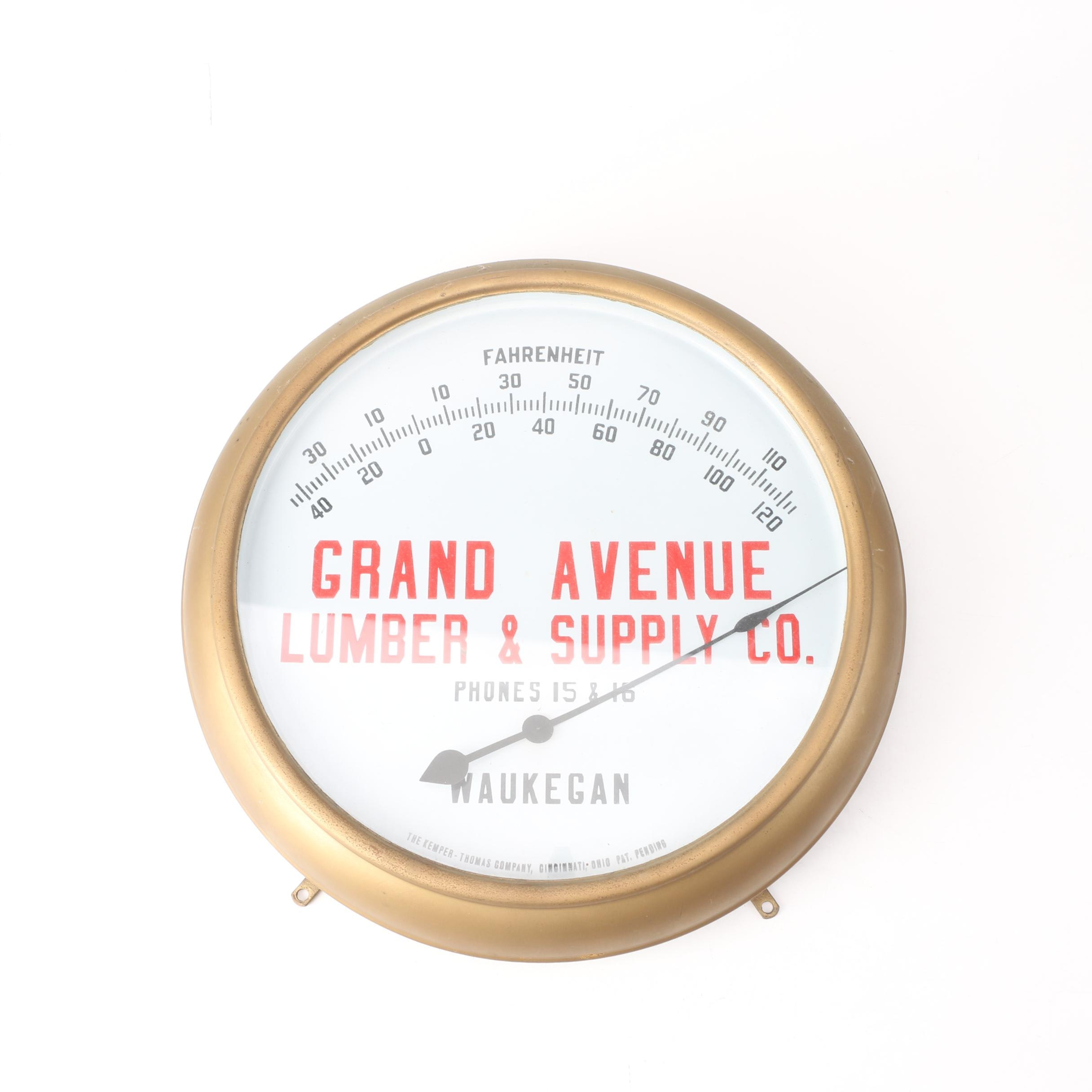 Kemper -Thomas Company Advertising Wall Thermometer