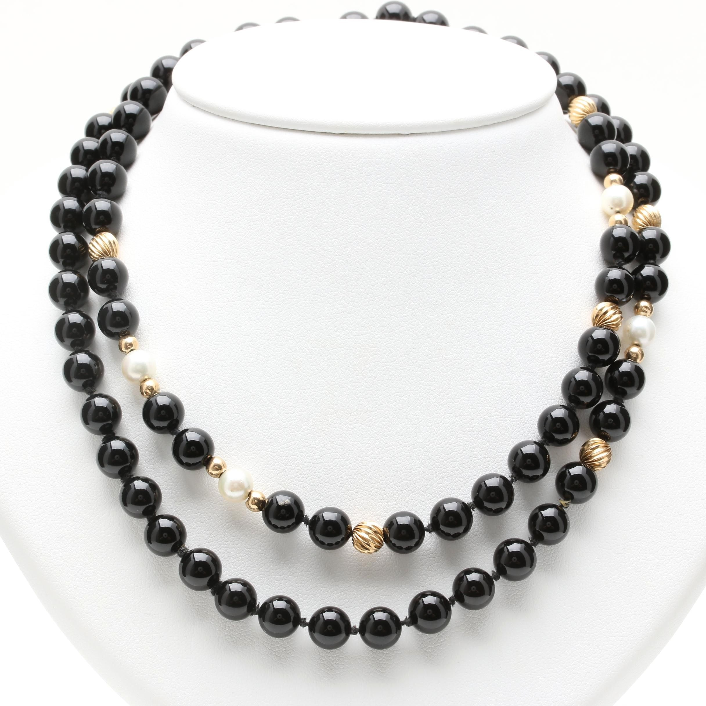 14K Yellow Gold Black Onyx and Cultured Pearl Beaded Necklace