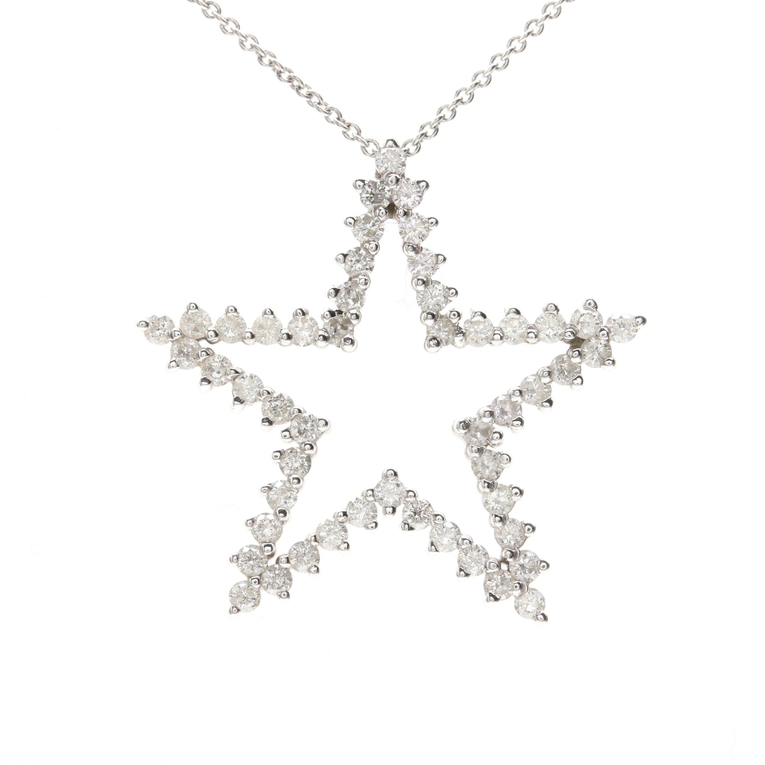 14K White Gold 1.25 CTW Diamond Star Pendant Necklace