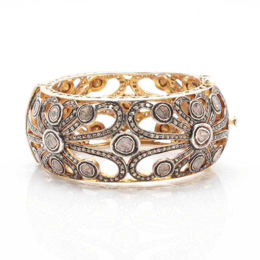 Gold Wash on Sterling Silver Diamond Bangle Bracelet