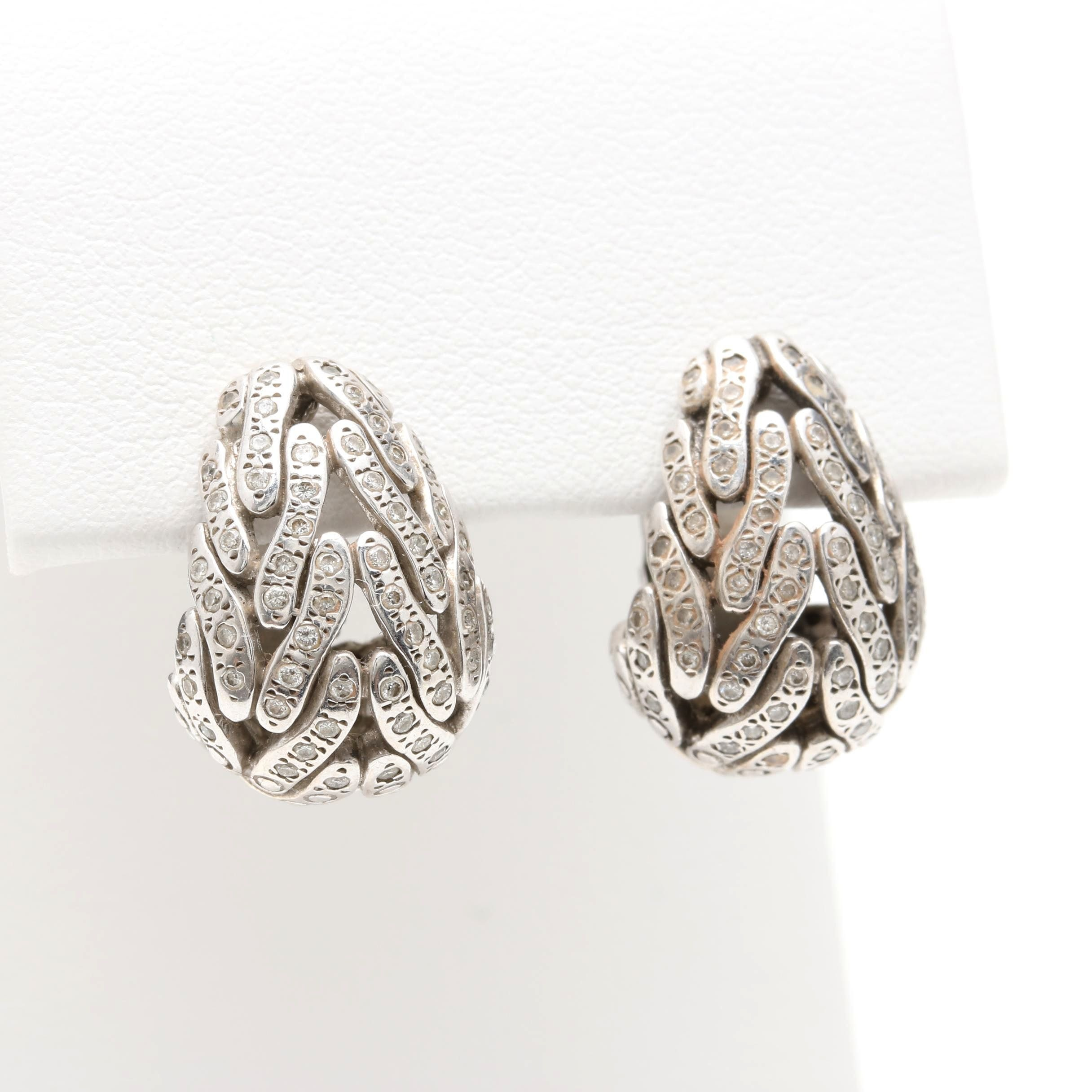 John Hardy Sterling Silver Diamond Earrings with 18K Yellow Gold Accents