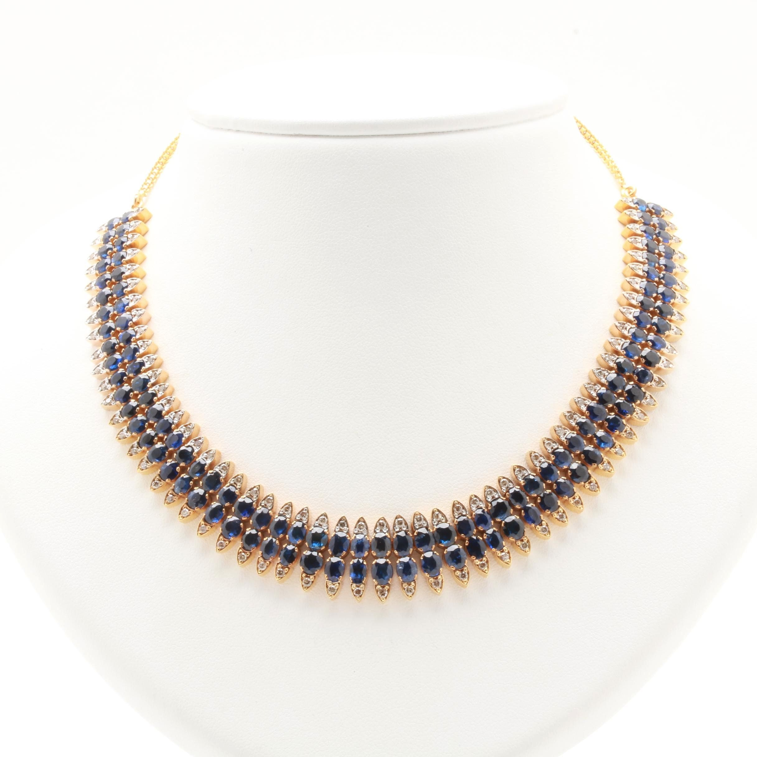 14K Yellow Gold Blue Sapphire and 2.00 CTW Diamond Necklace