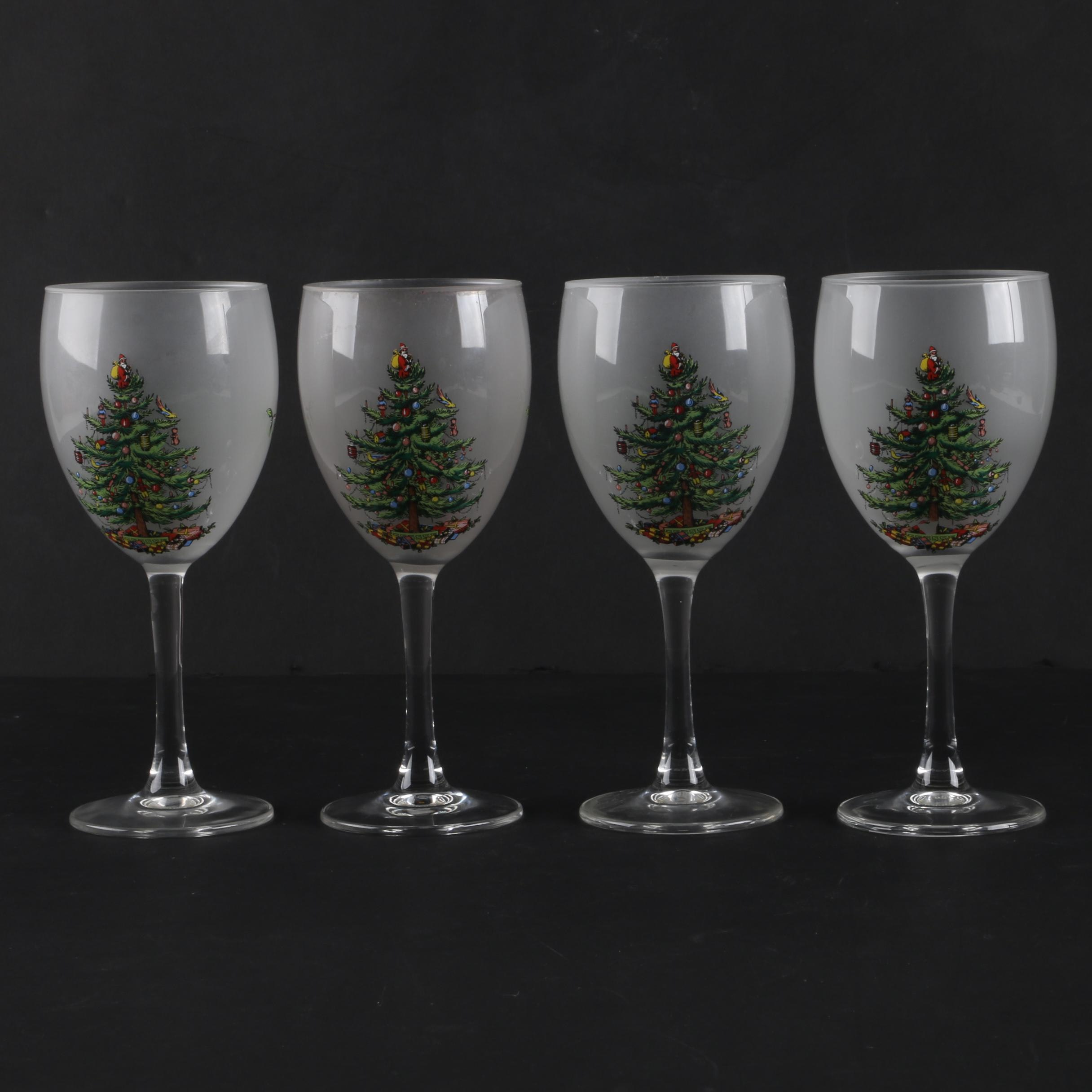 Spode 'Christmas Tree' Wine Glasses