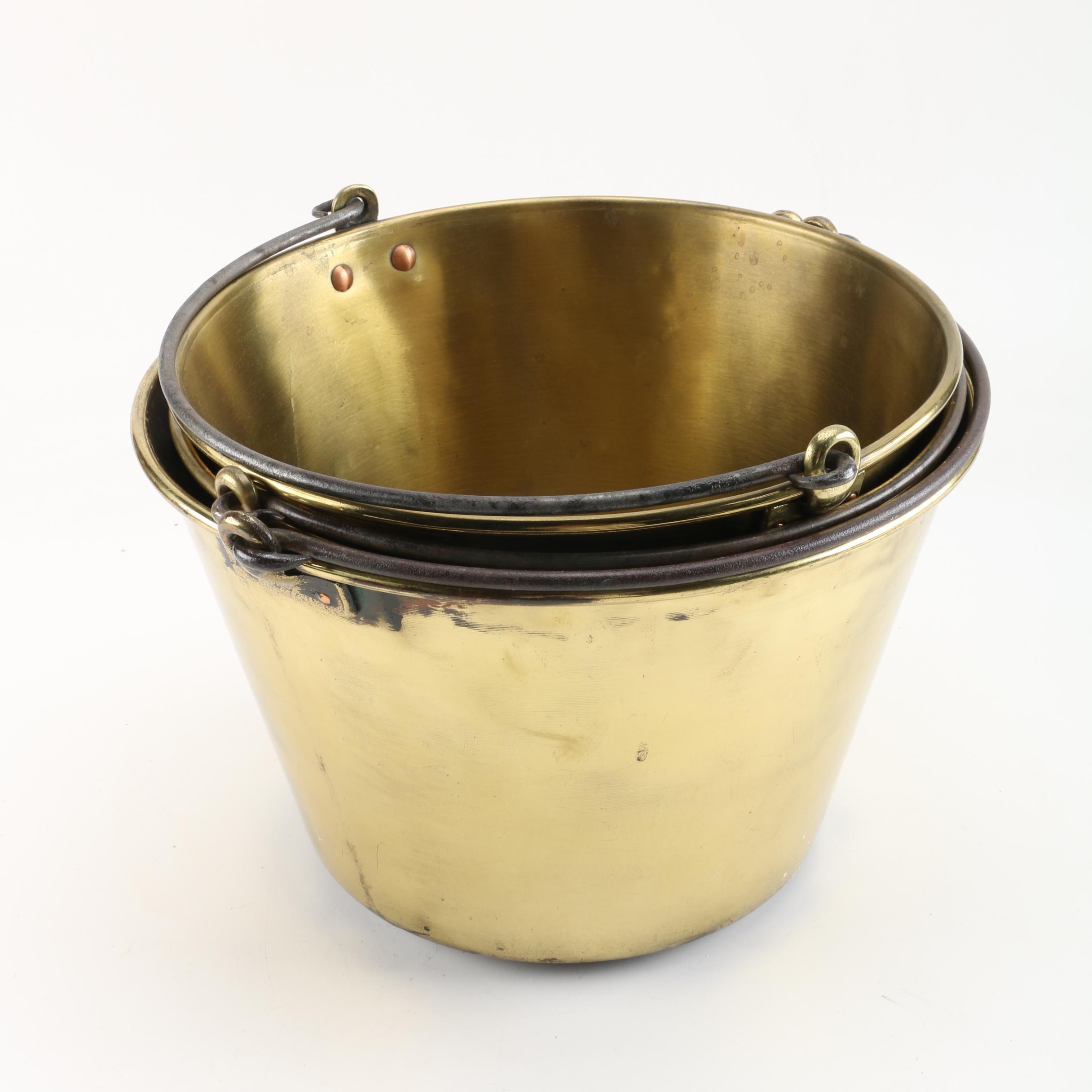 American Brass Kettle Co. Spun Brass Pails