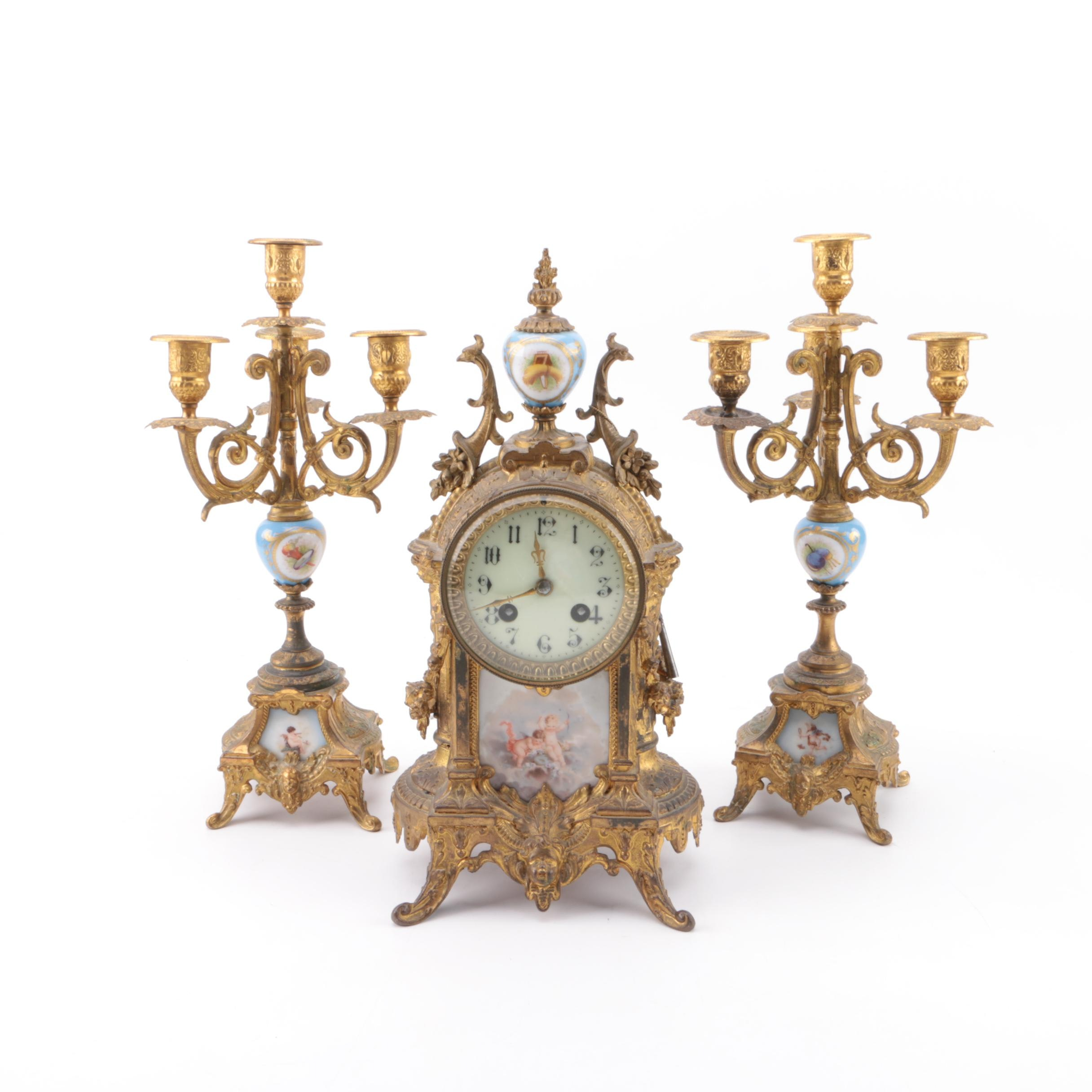 Brass and Painted Glass French Rococo Style Clock and Candlestick Holders
